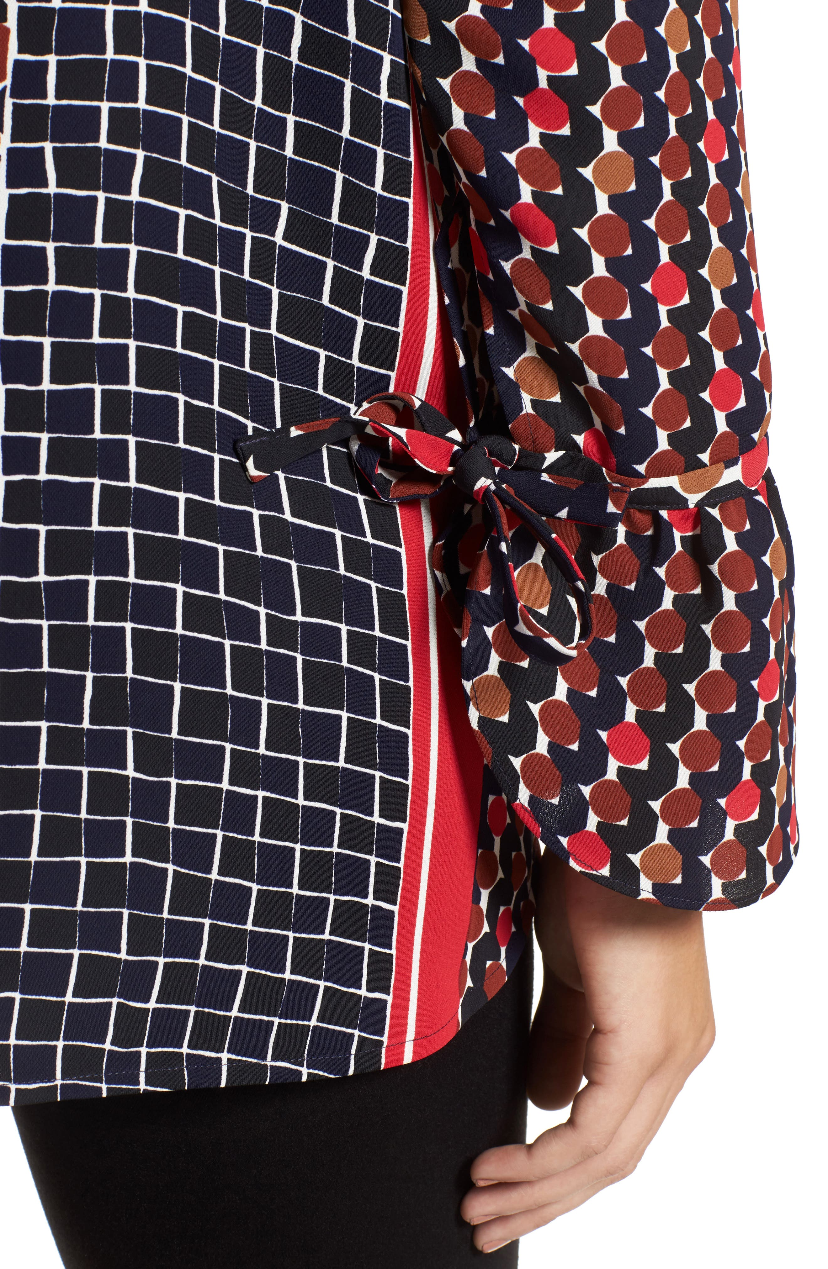 Mix Dots Bell Sleeve Top,                             Alternate thumbnail 4, color,                             Red Multi