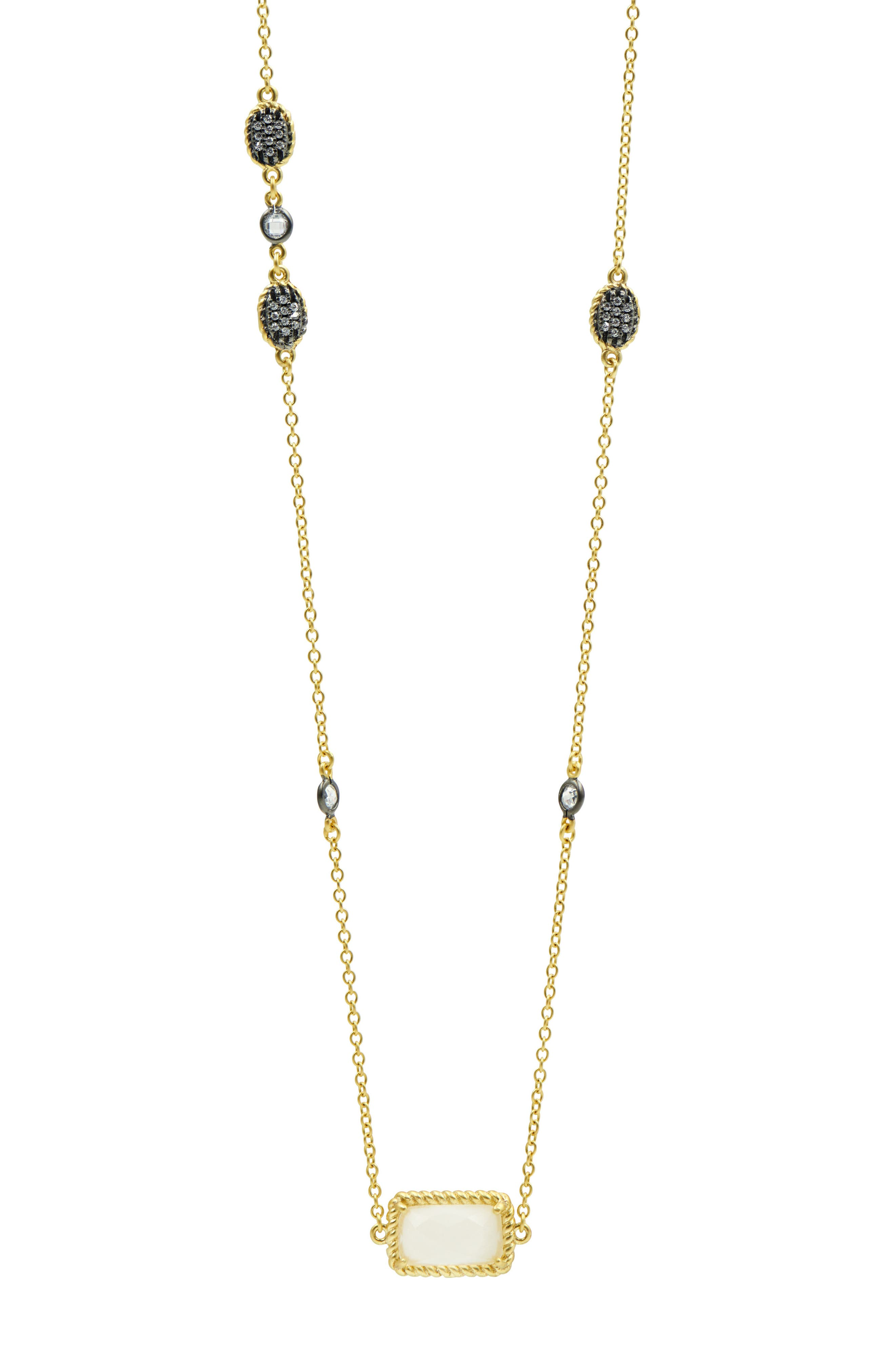 Gilded Cable Stone & Pavé Long Station Necklace,                         Main,                         color, Black/ Gold