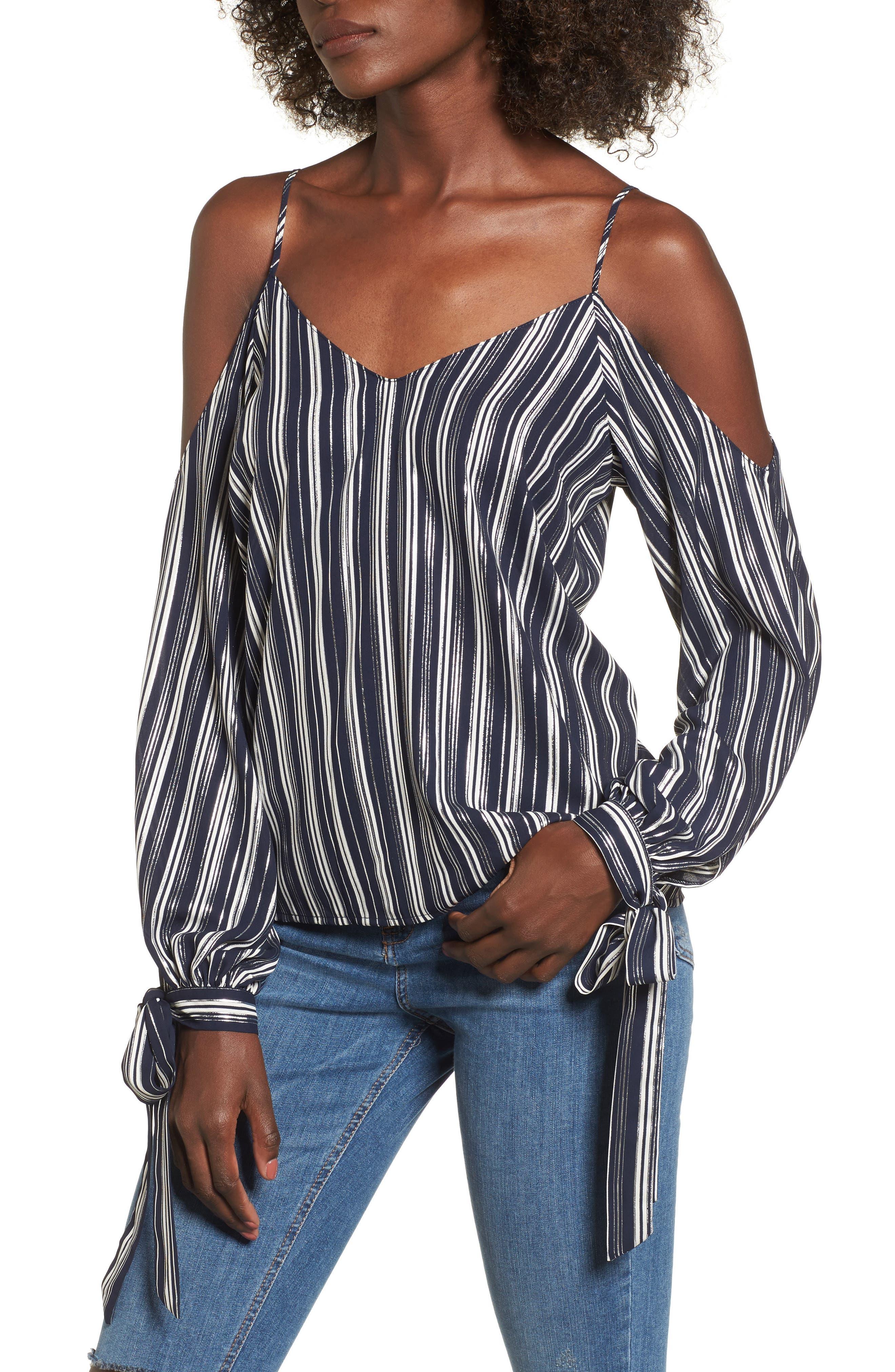 Metallic Stripe Cold Shoulder Top,                         Main,                         color, Navy/ Silver Stripe
