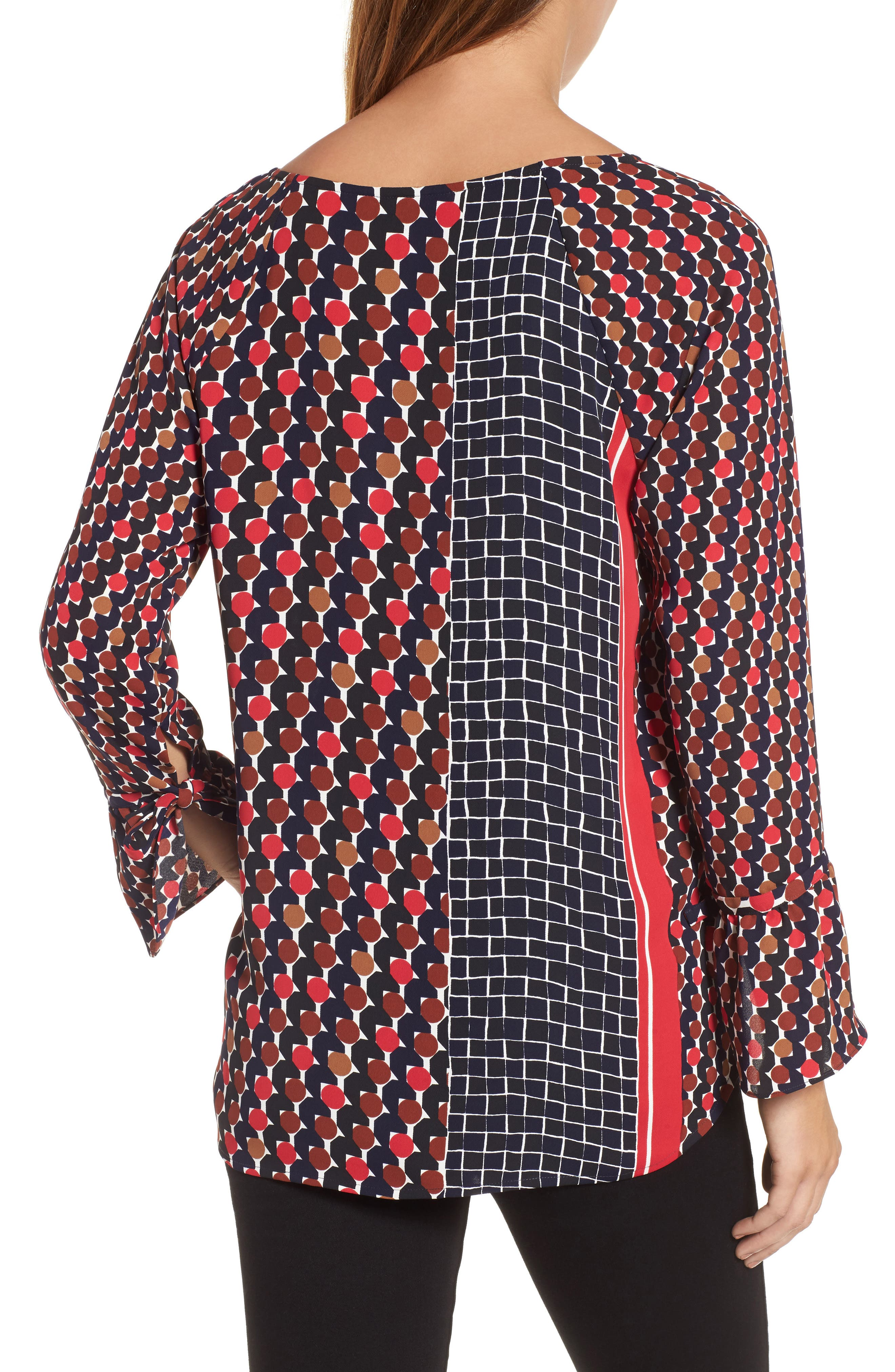 Mix Dots Bell Sleeve Top,                             Alternate thumbnail 2, color,                             Red Multi