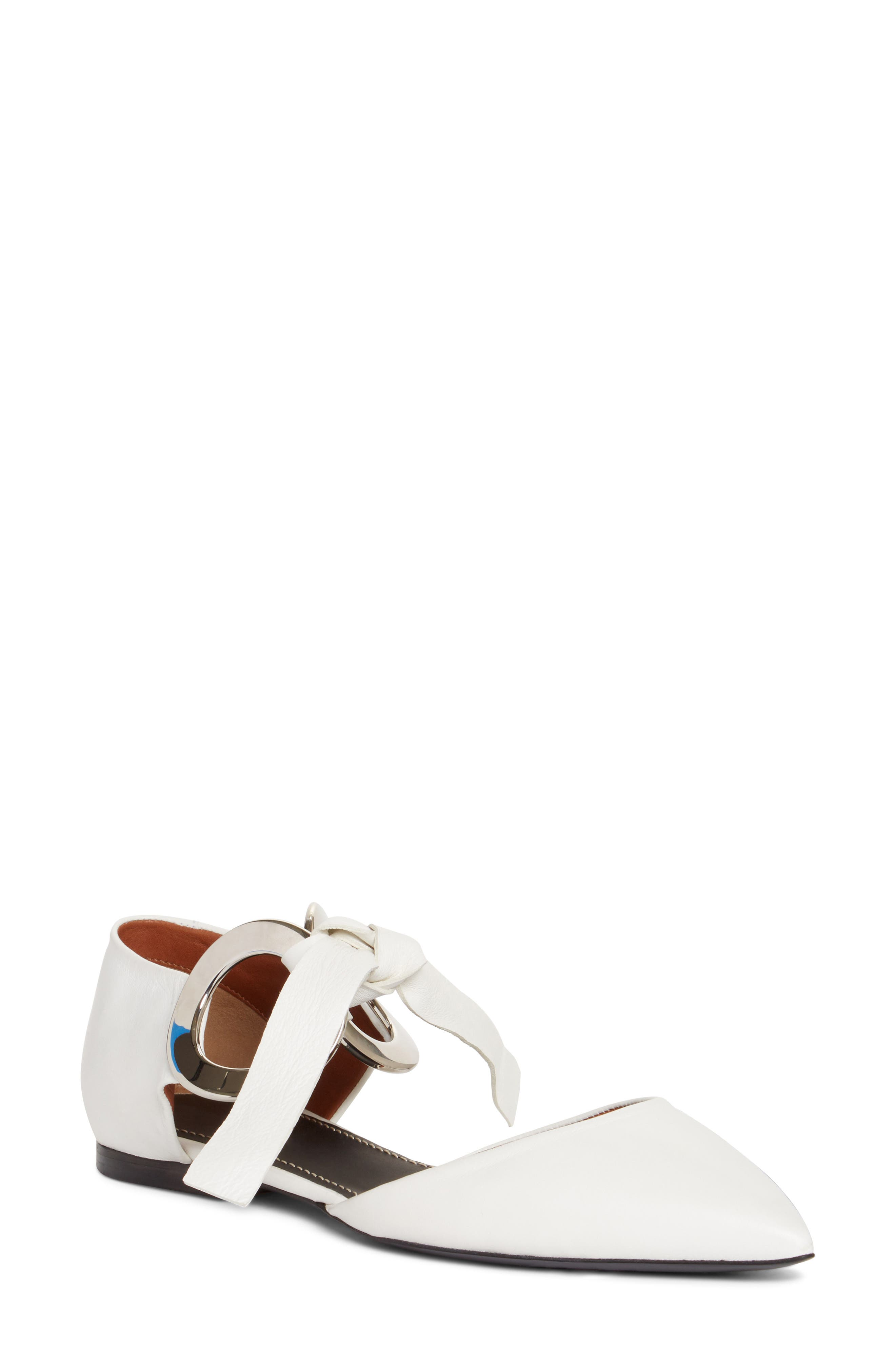 Lace-Up Pointy Toe Flat,                             Main thumbnail 1, color,                             White