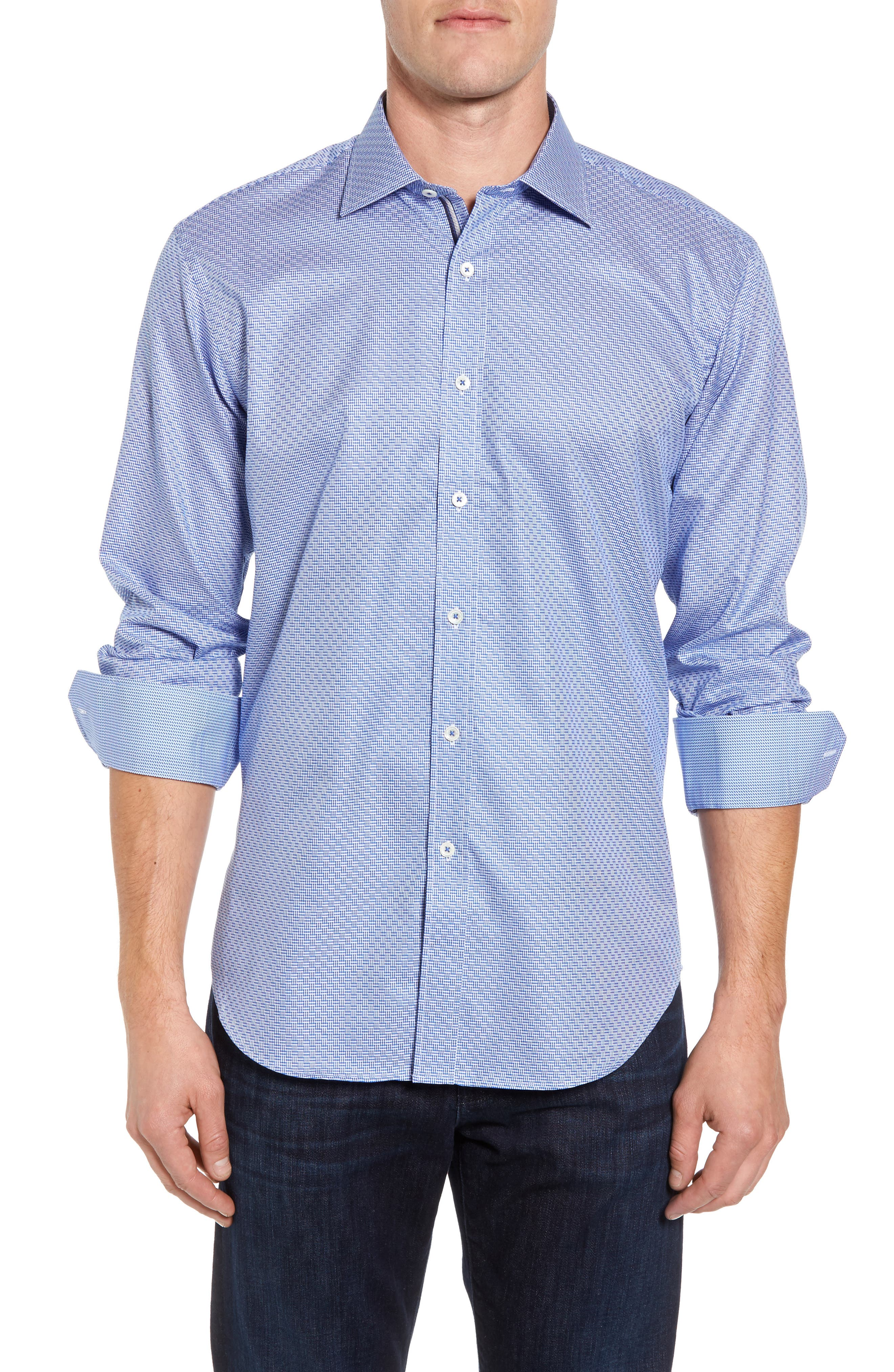 Shaped Fit Sport Shirt,                         Main,                         color, Classic Blue