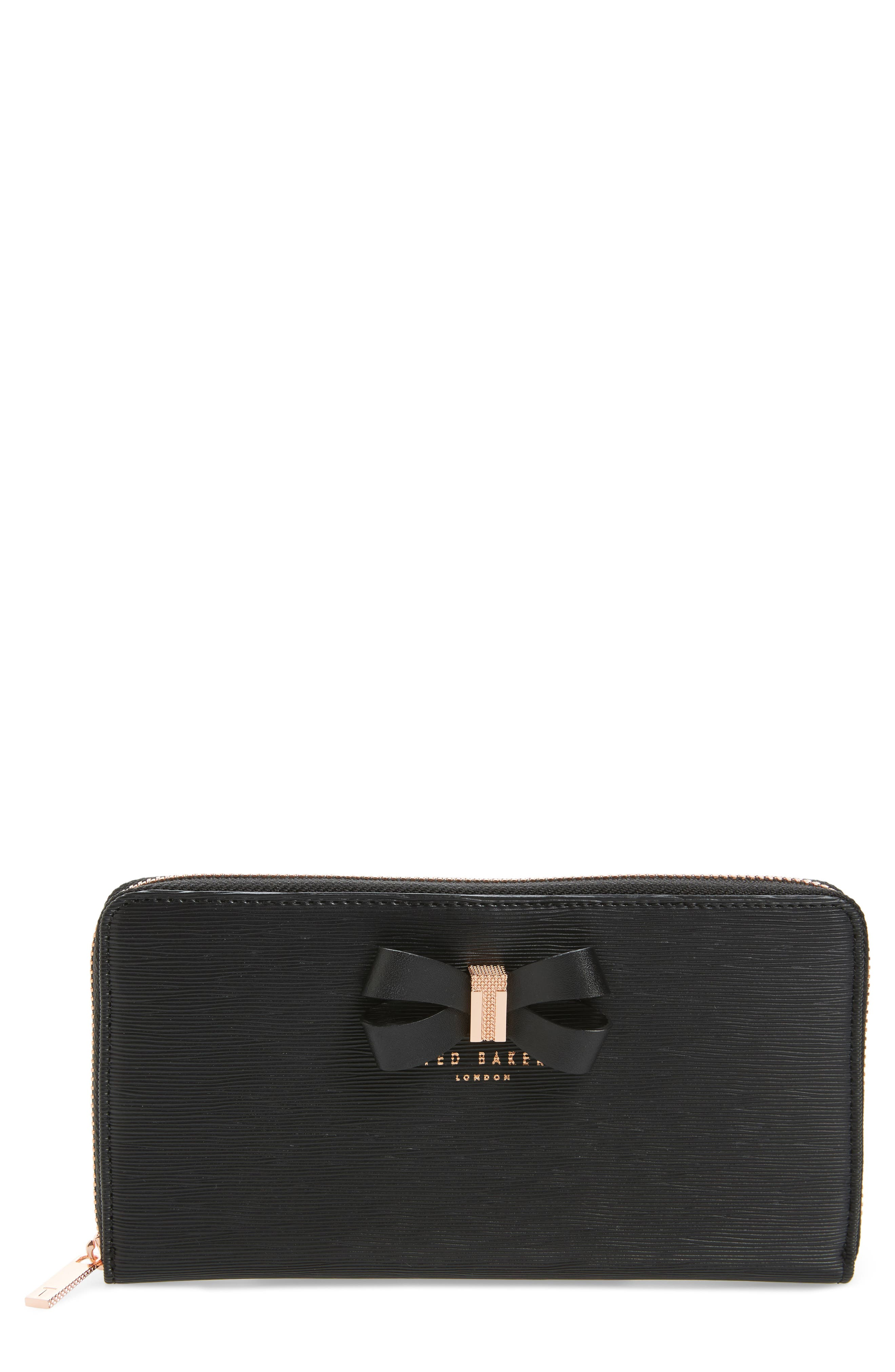 Ted Baker London Oralia Bow Leather Zip-Around Matinée Wallet