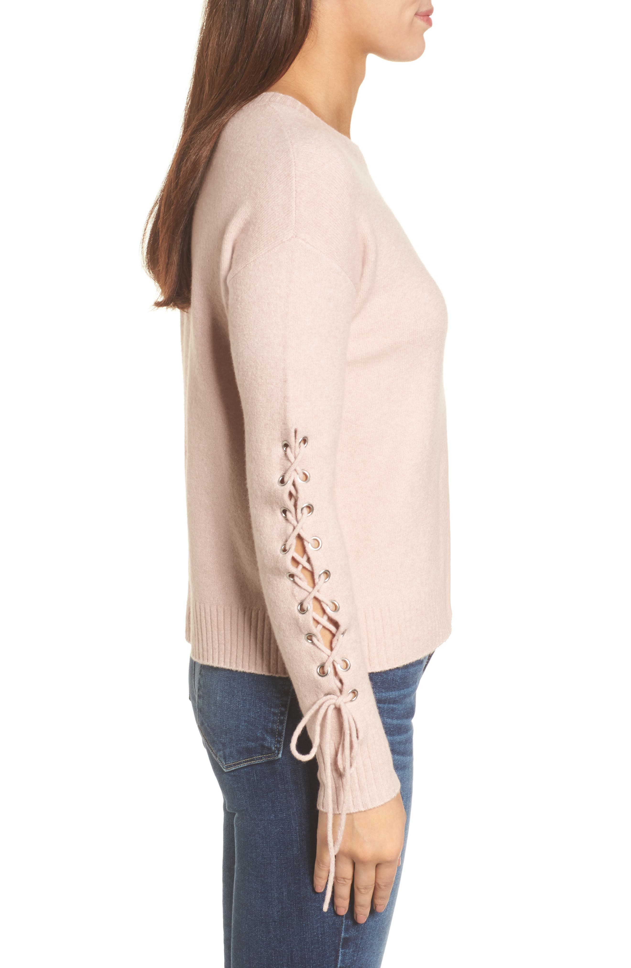 Lace-Up Sleeve Sweater,                             Alternate thumbnail 3, color,                             Pink Adobe