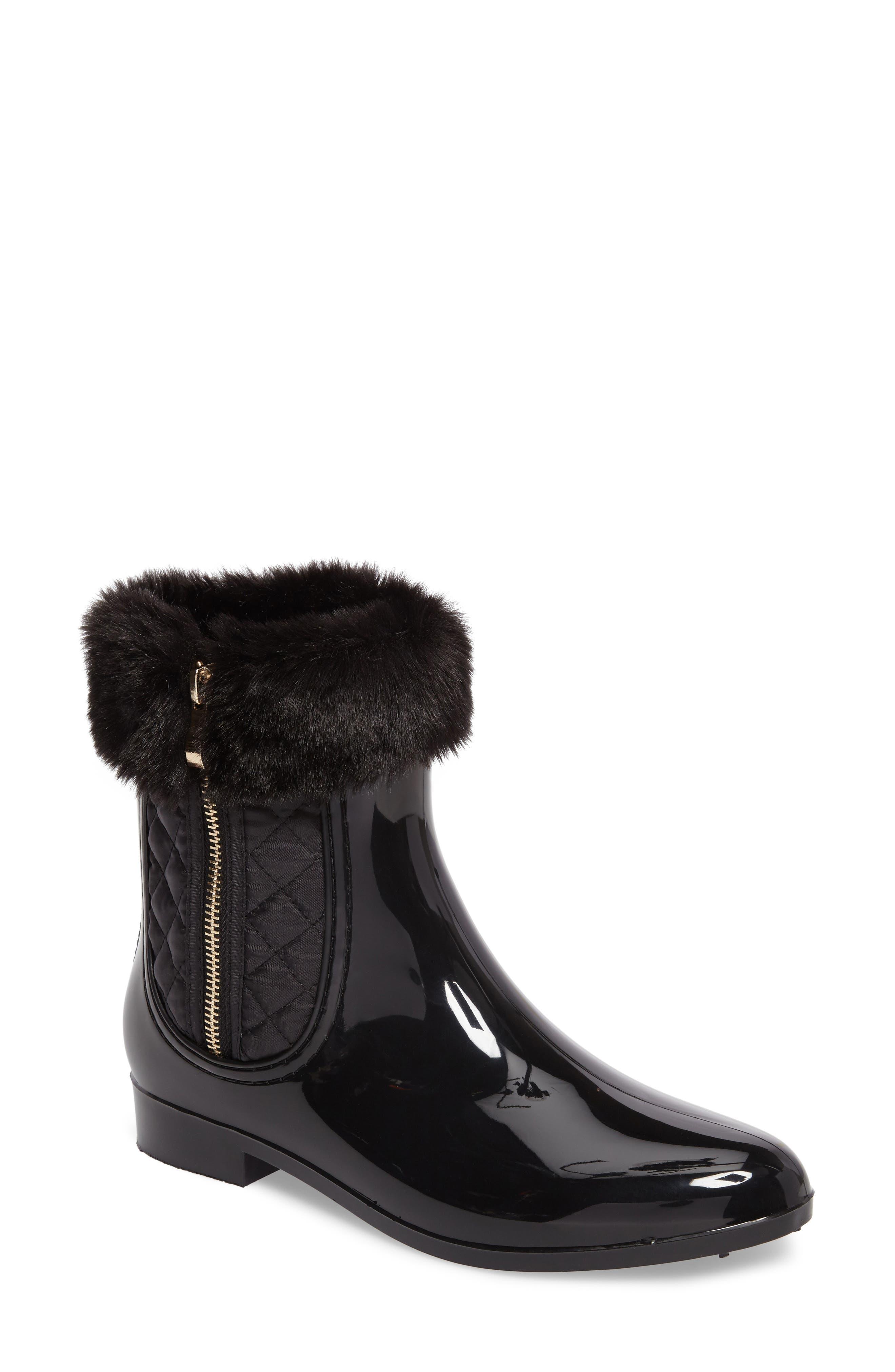Glasgow Faux Fur Cuff Boot,                             Main thumbnail 1, color,                             Black
