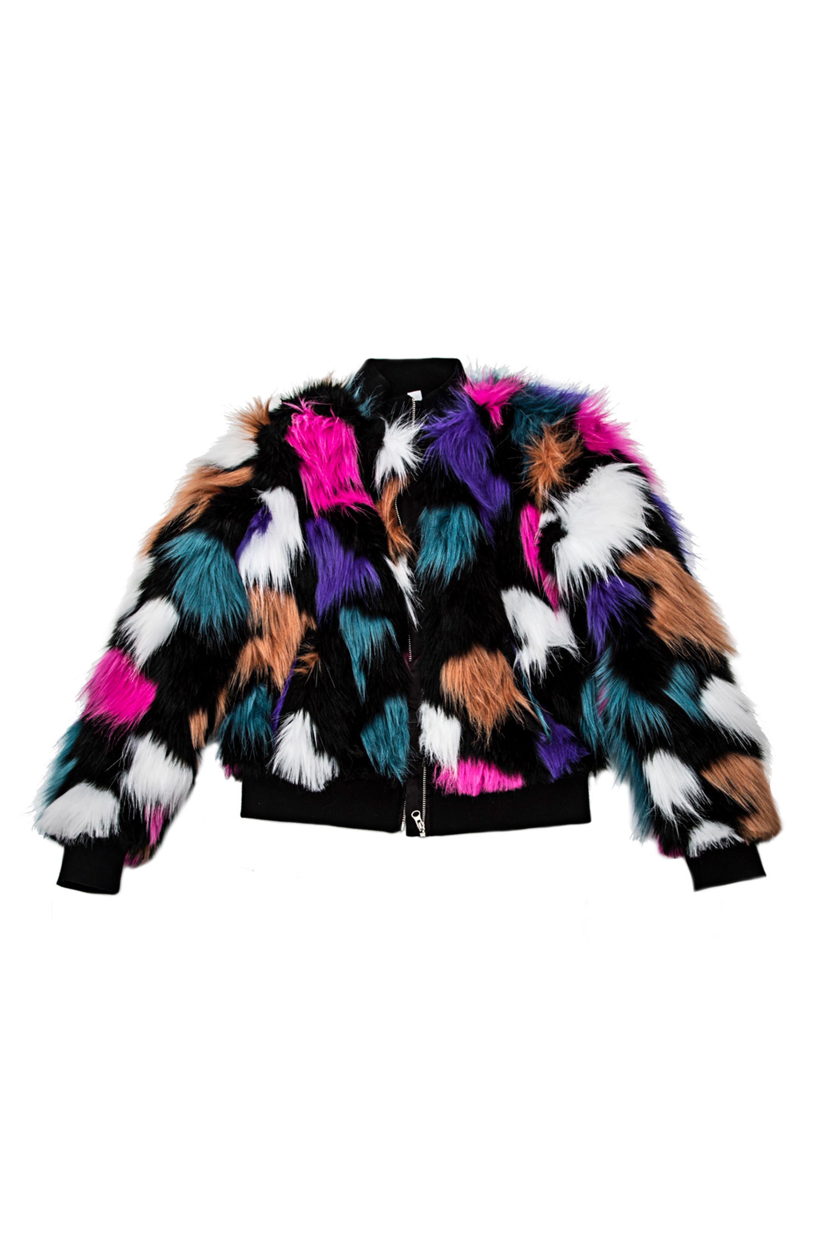 Alternate Image 1 Selected - Mia New York Faux Fur Jacket (Big Girls)