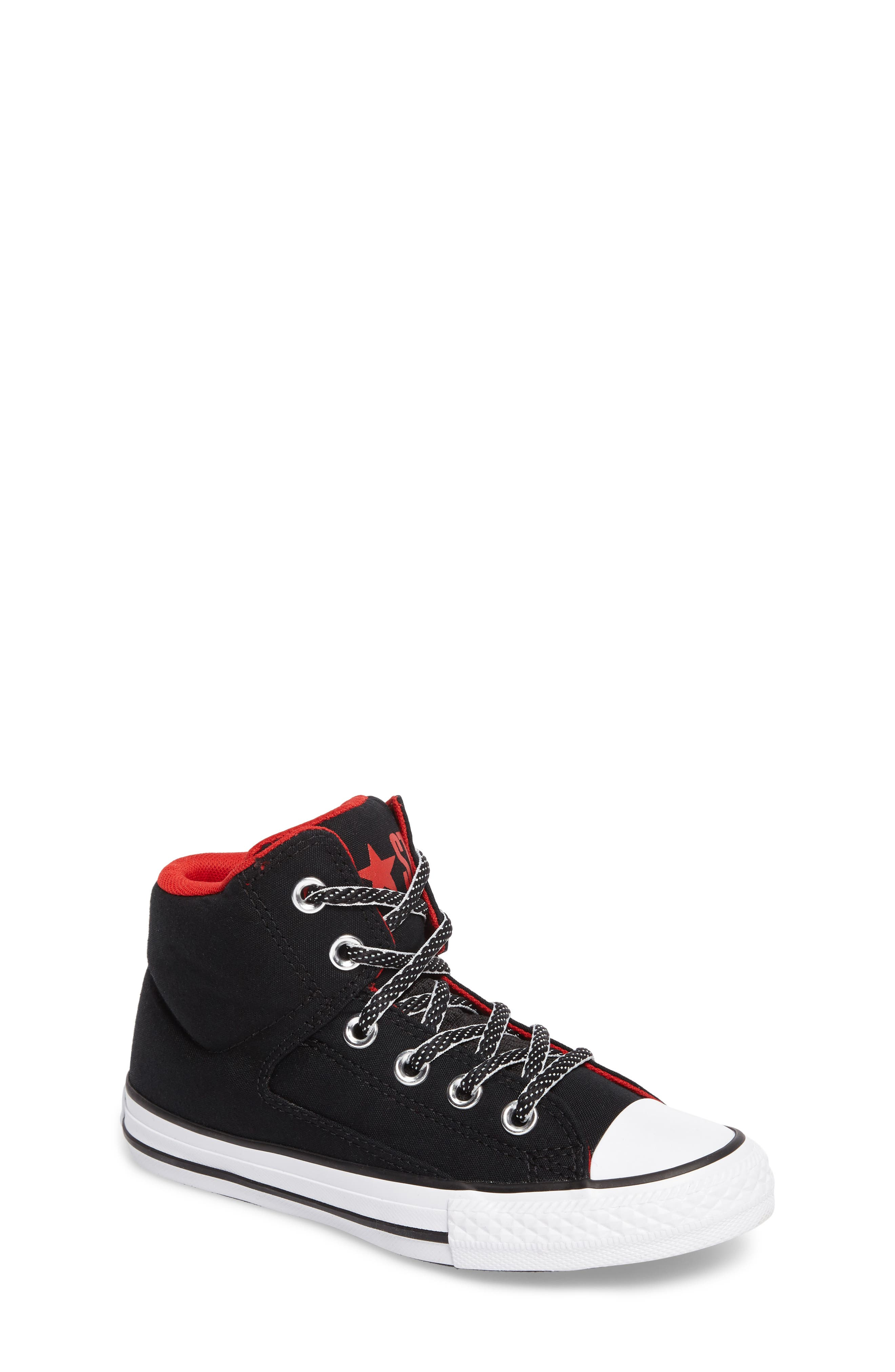 Chuck Taylor<sup>®</sup> All Star<sup>®</sup> High Street High Top Sneaker,                         Main,                         color, Black Canvas