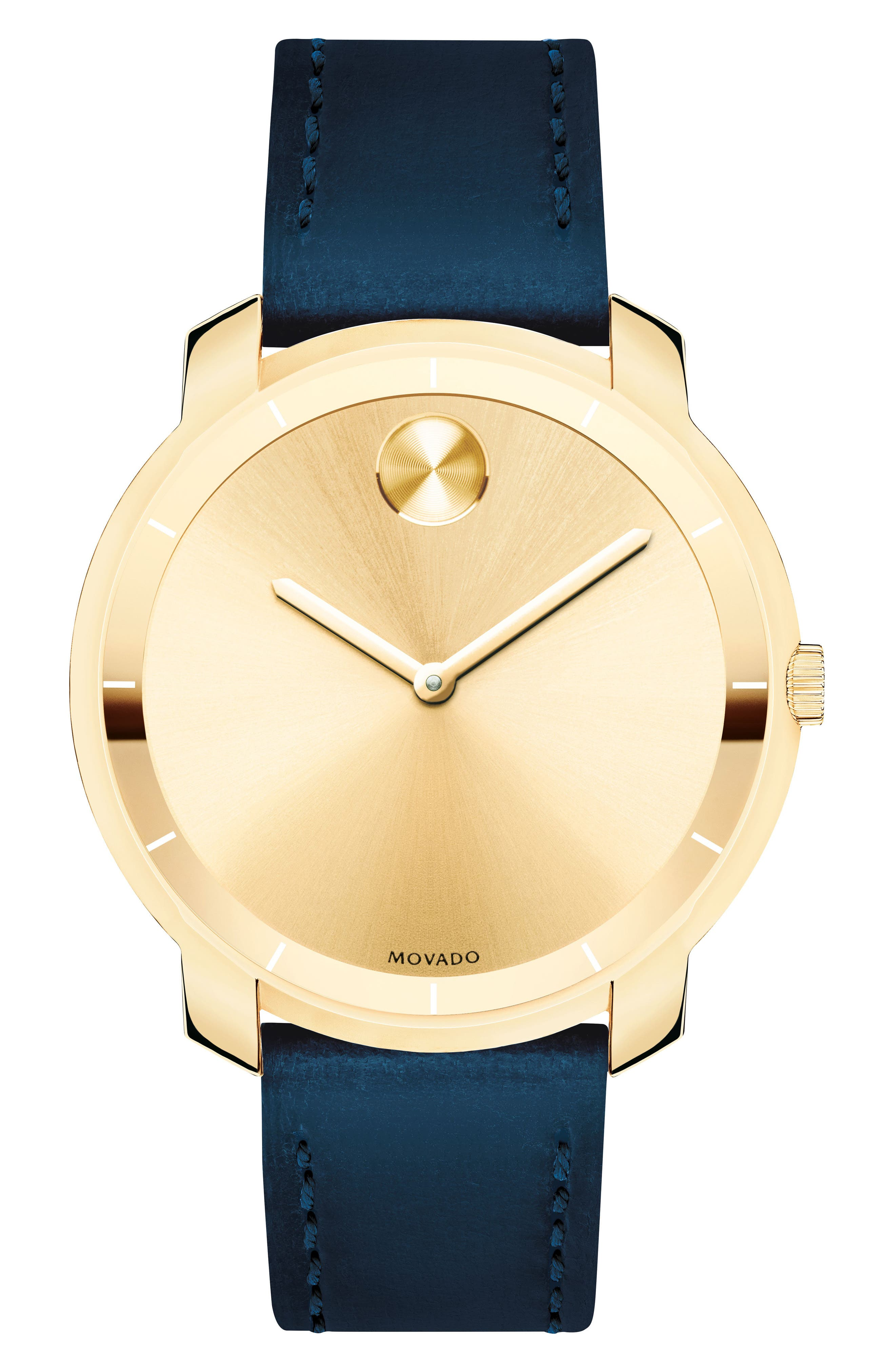 Bold Thin Leather Strap Watch, 36mm,                         Main,                         color, Navy/ Gold