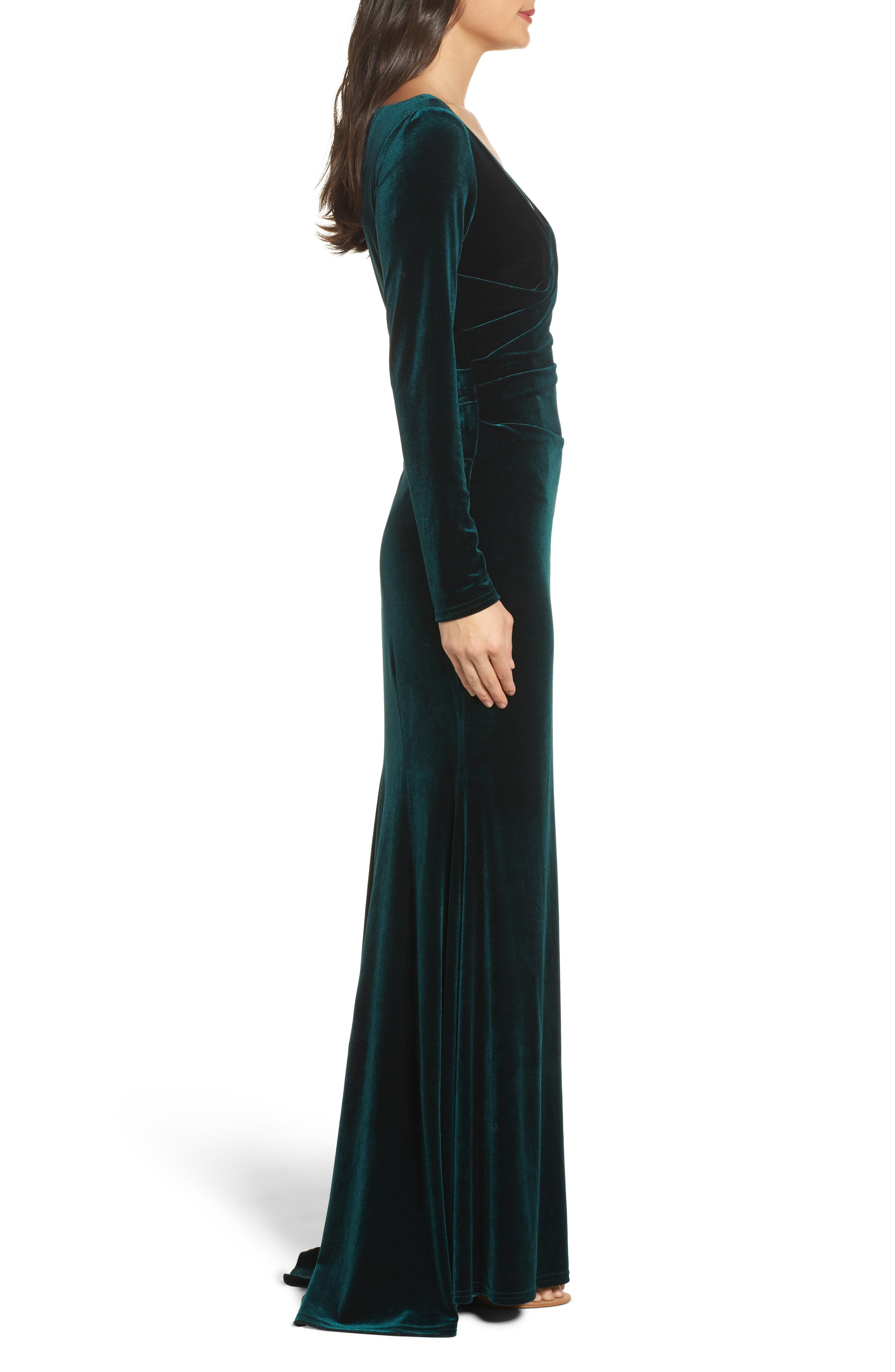 Velvet Gown,                             Alternate thumbnail 3, color,                             Hunter