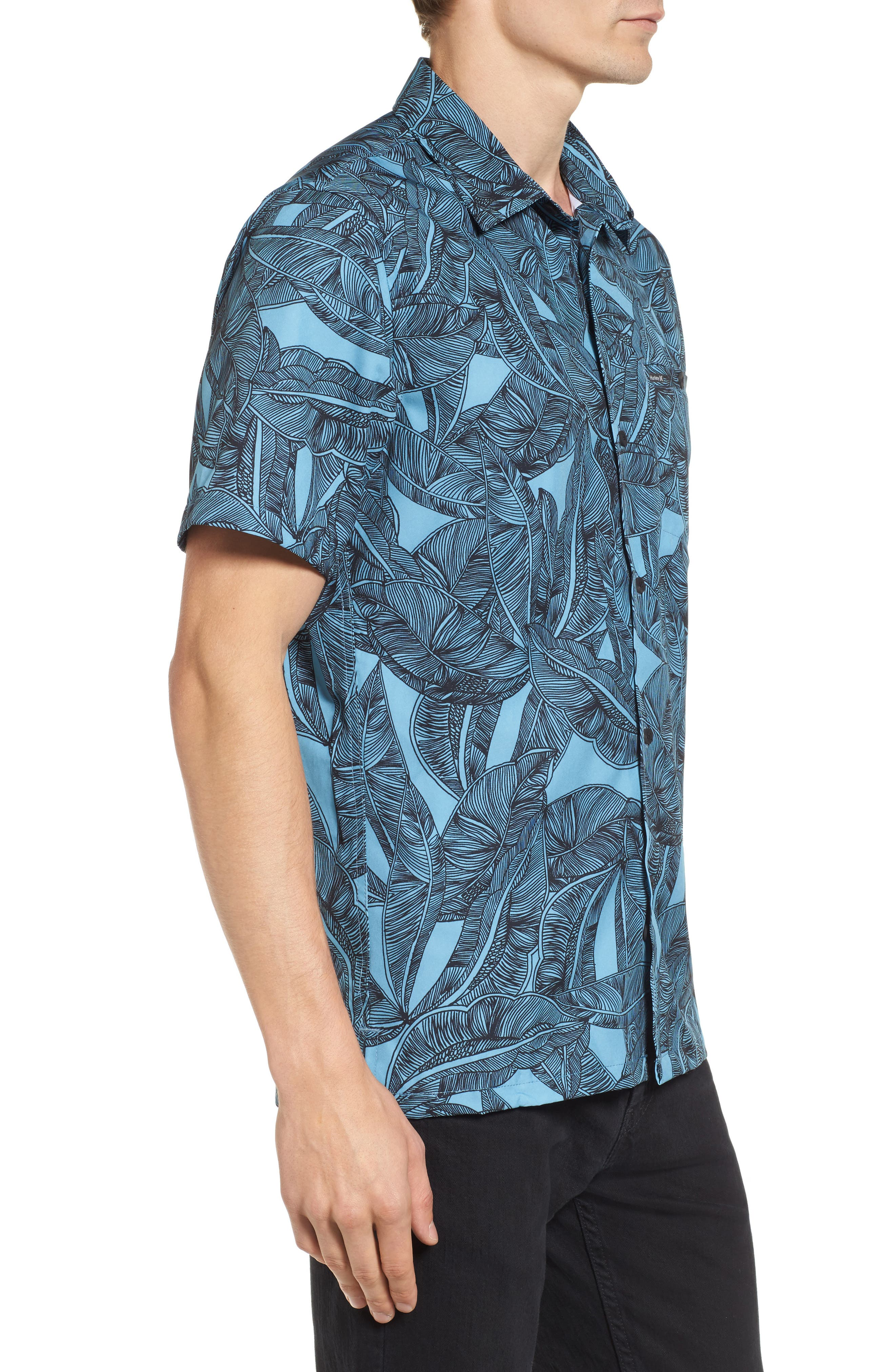Print Woven Shirt,                             Alternate thumbnail 3, color,                             Cerulean