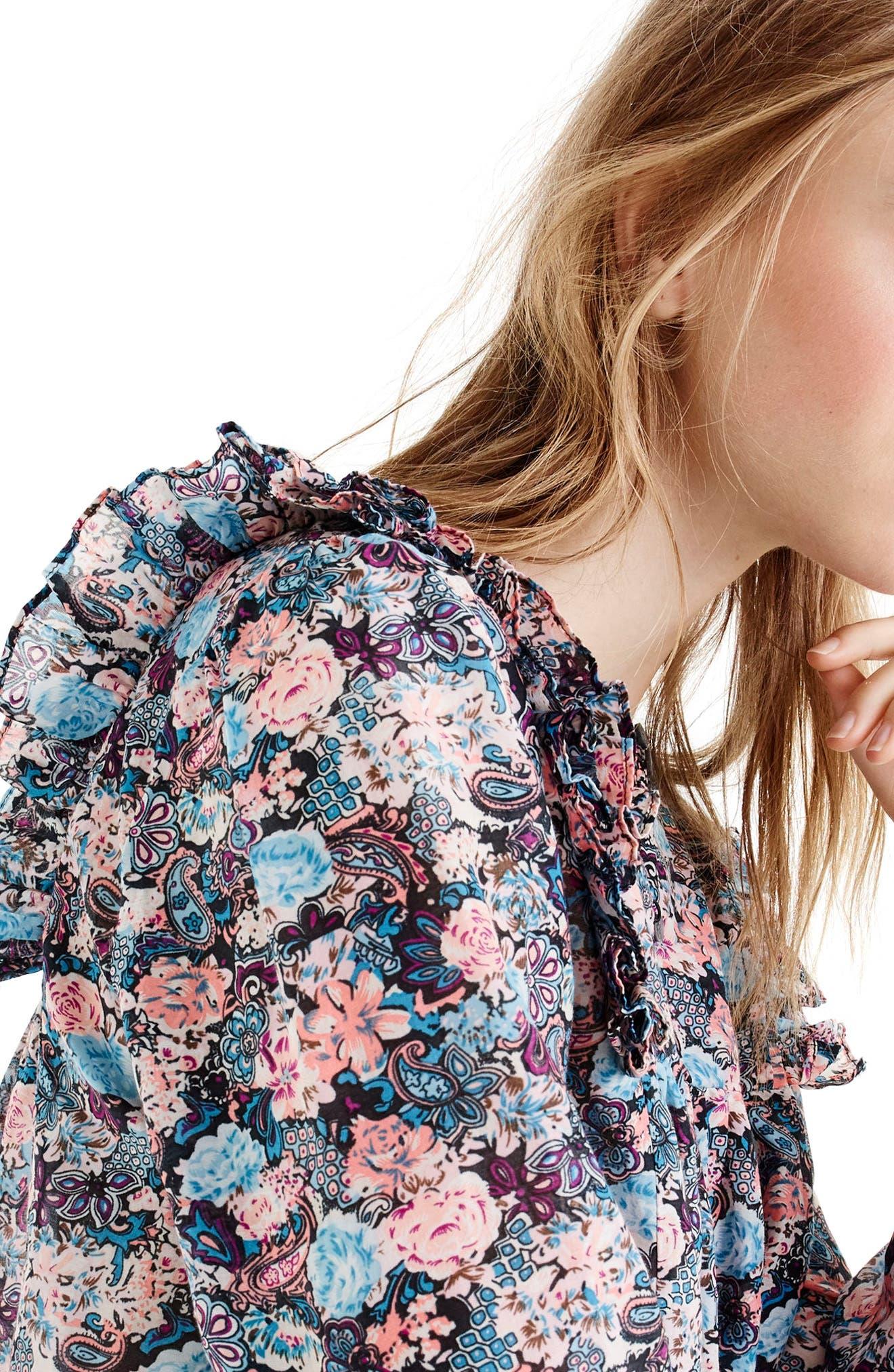 Esperanza Cotton & Silk Top,                             Alternate thumbnail 3, color,                             Black Multi