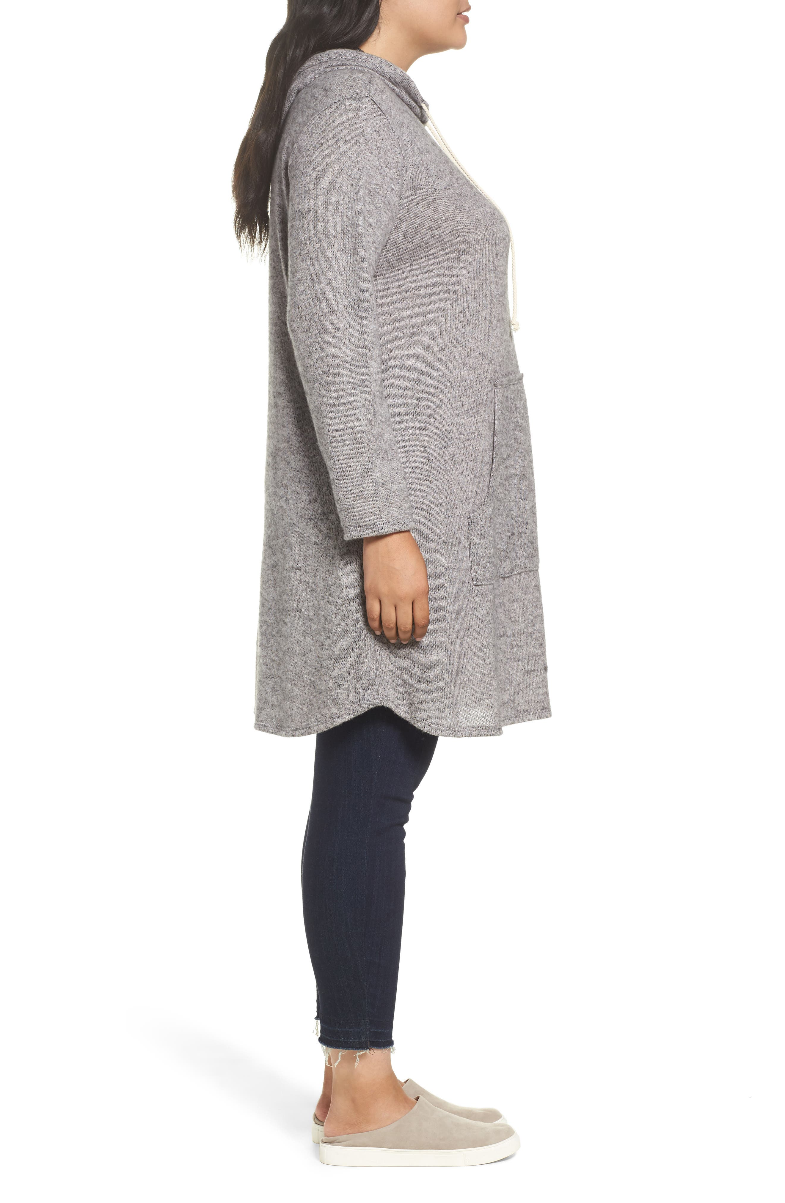 Hooded Knit Tunic,                             Alternate thumbnail 3, color,                             Light Grey