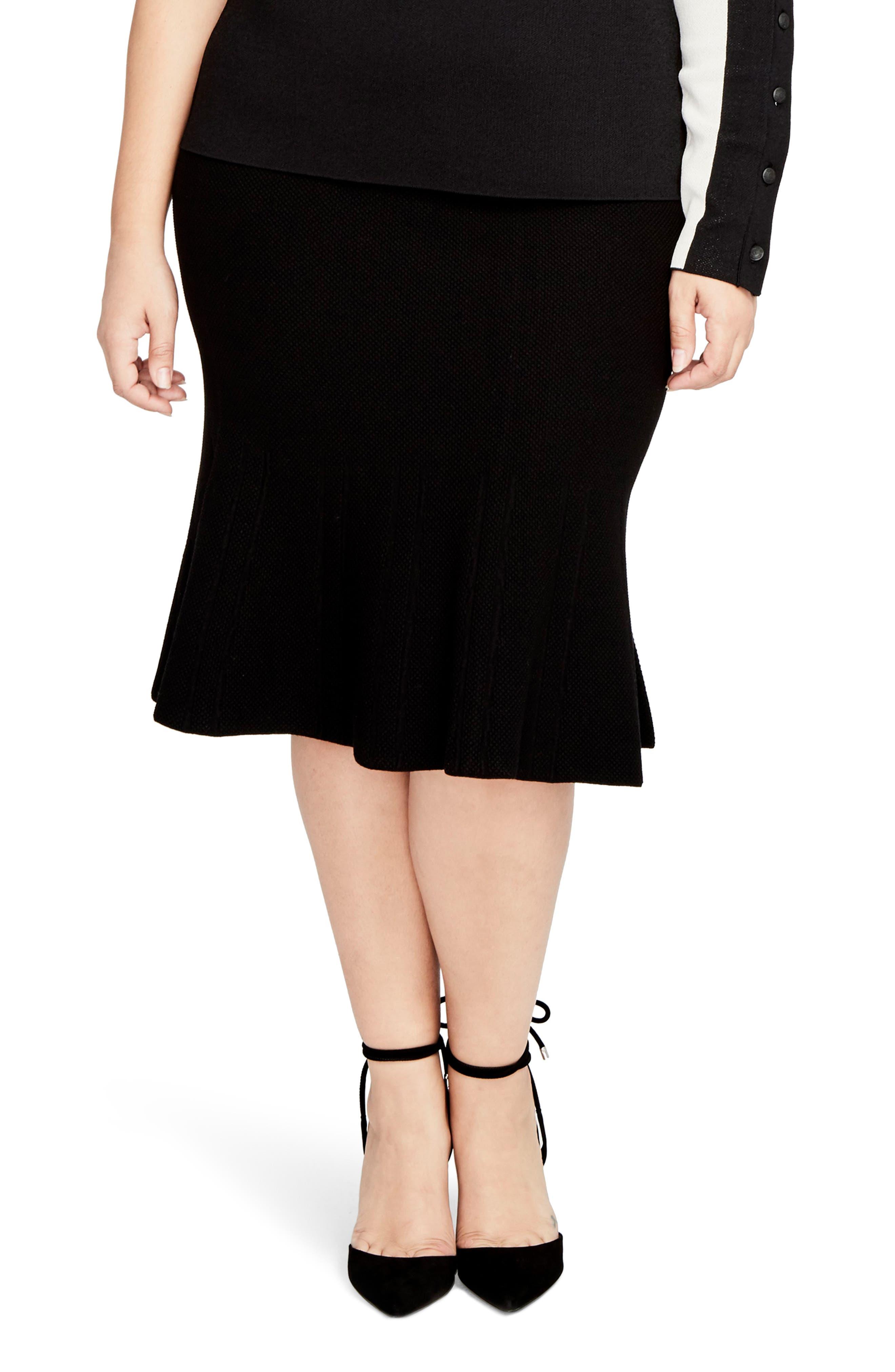 Rachel Roy Pebble Jacquard Fit & Flare Skirt,                         Main,                         color, Black