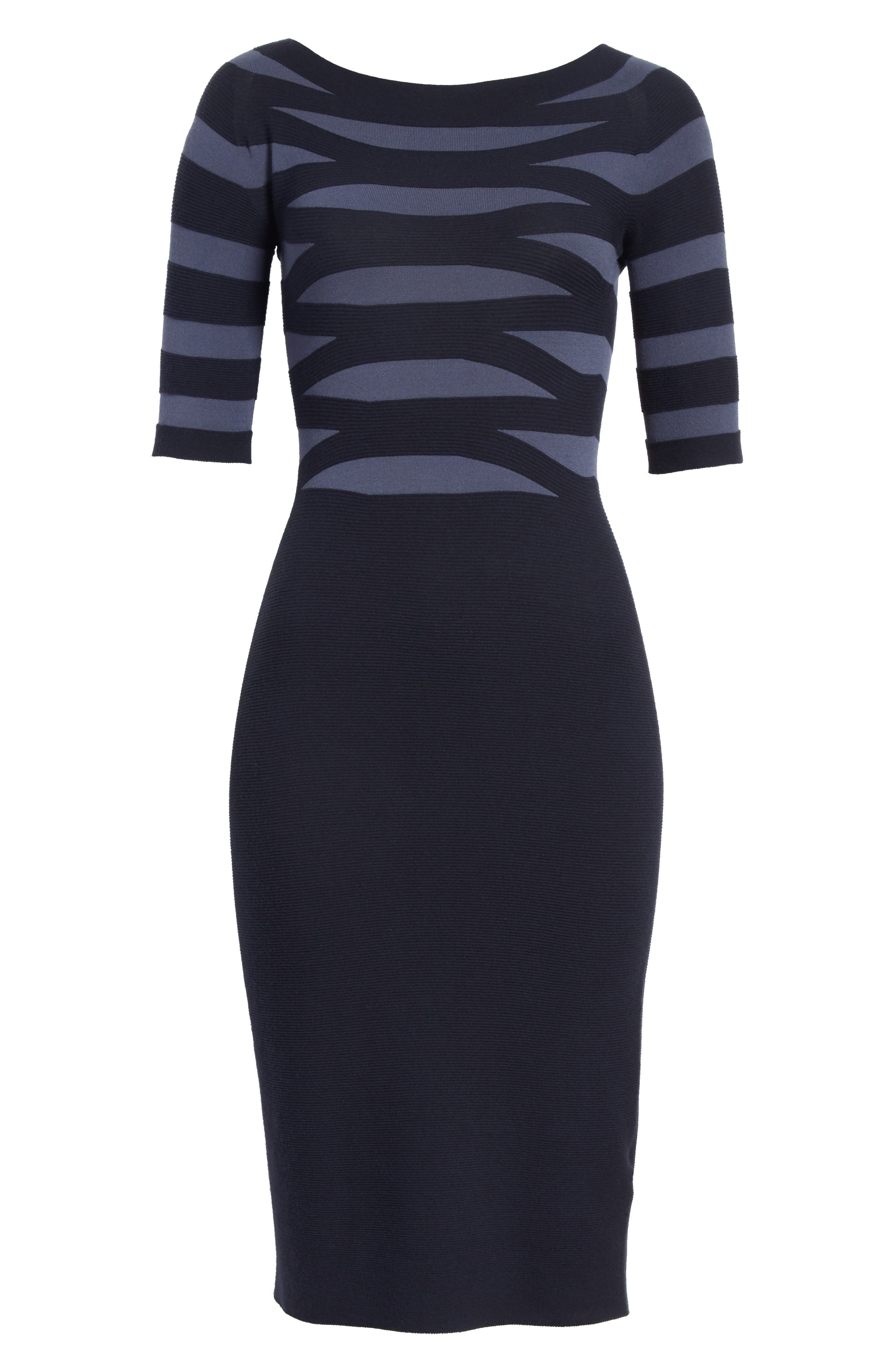 Graphic Stripe Knit Dress,                             Alternate thumbnail 7, color,                             Indigo Night