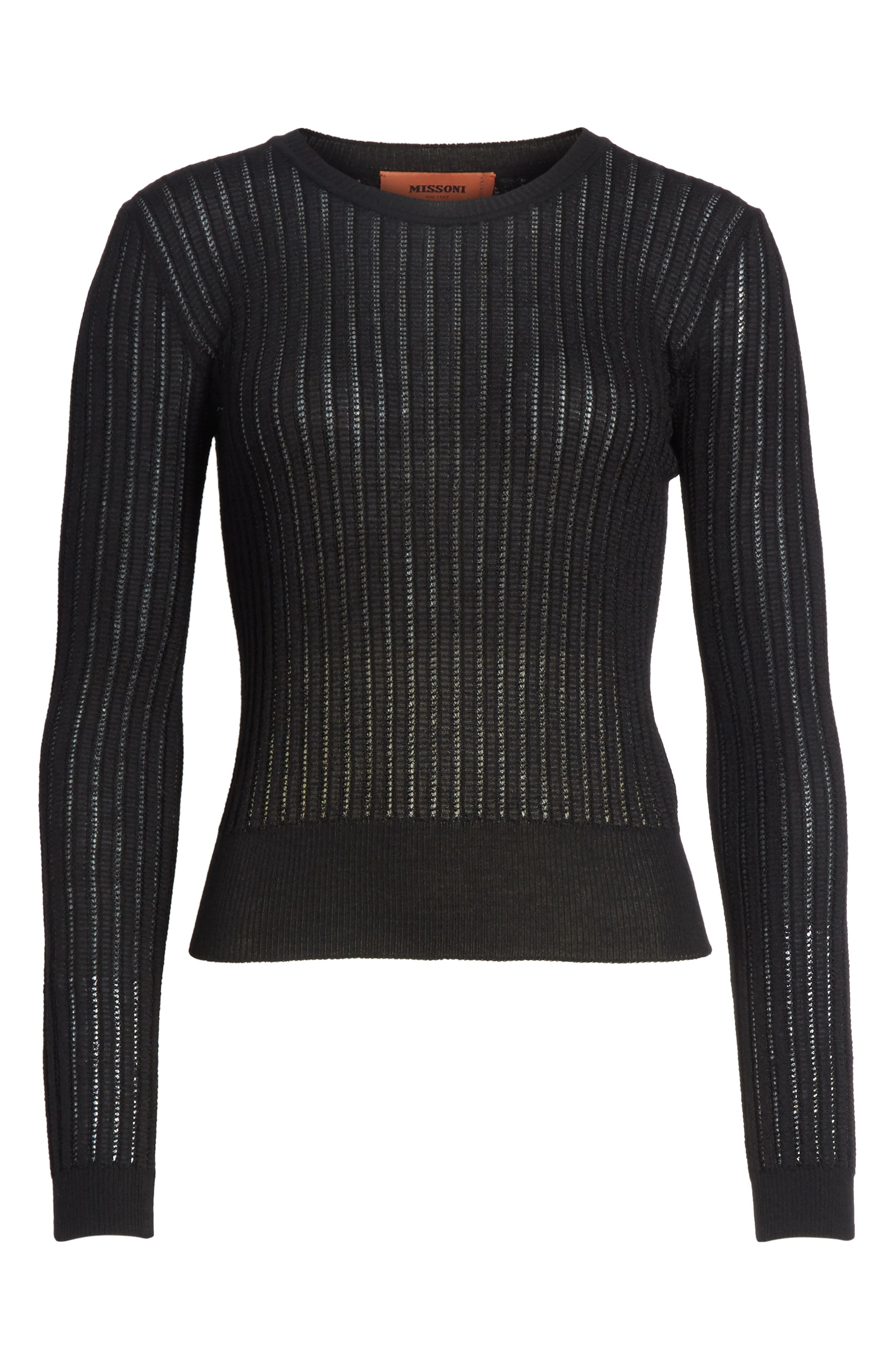 Knit Wool Blend Sweater,                             Alternate thumbnail 6, color,                             Black