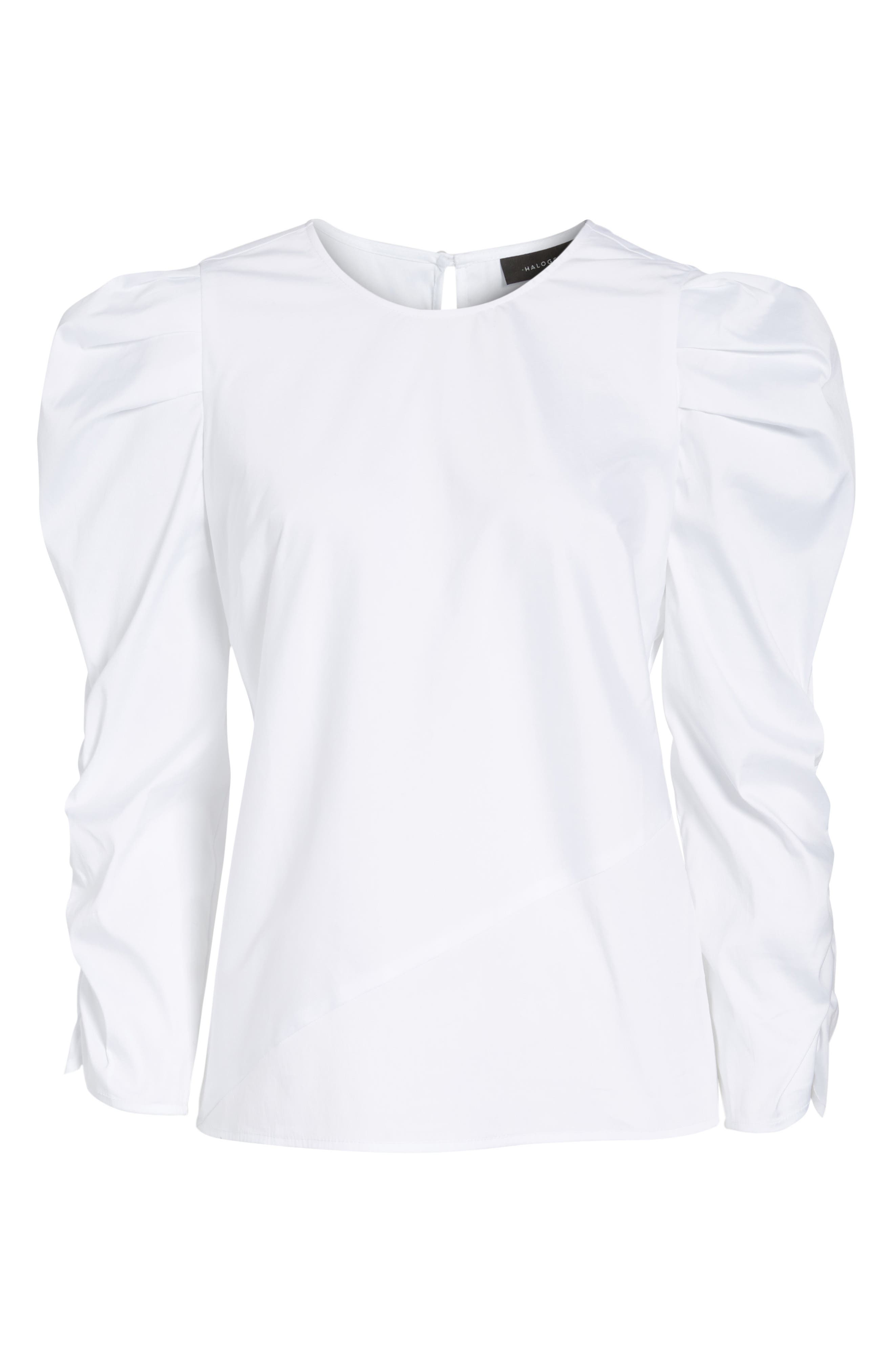 Ruched Sleeve Poplin Top,                             Alternate thumbnail 6, color,                             White