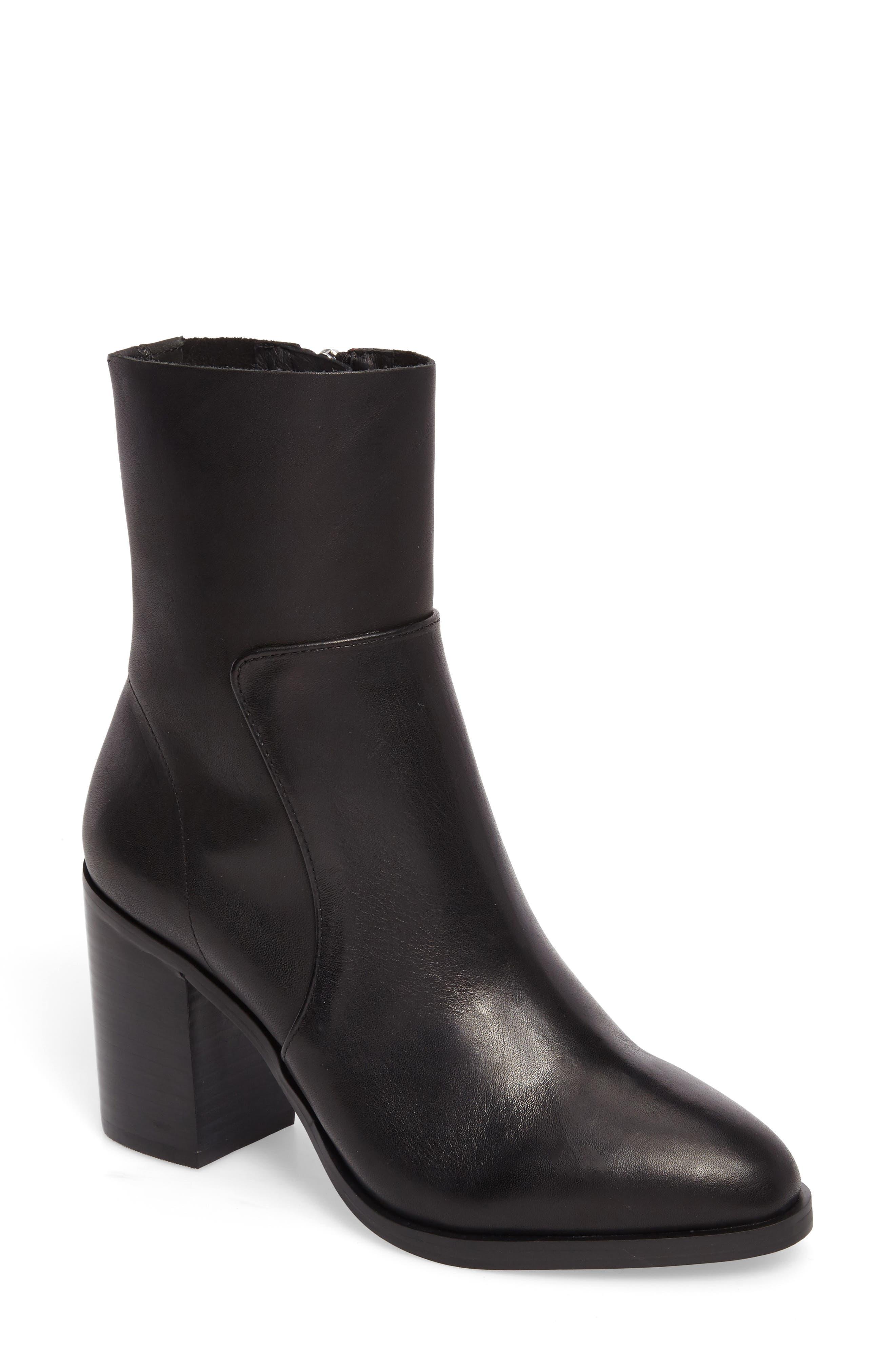 Rewind Bootie,                         Main,                         color, Black Leather