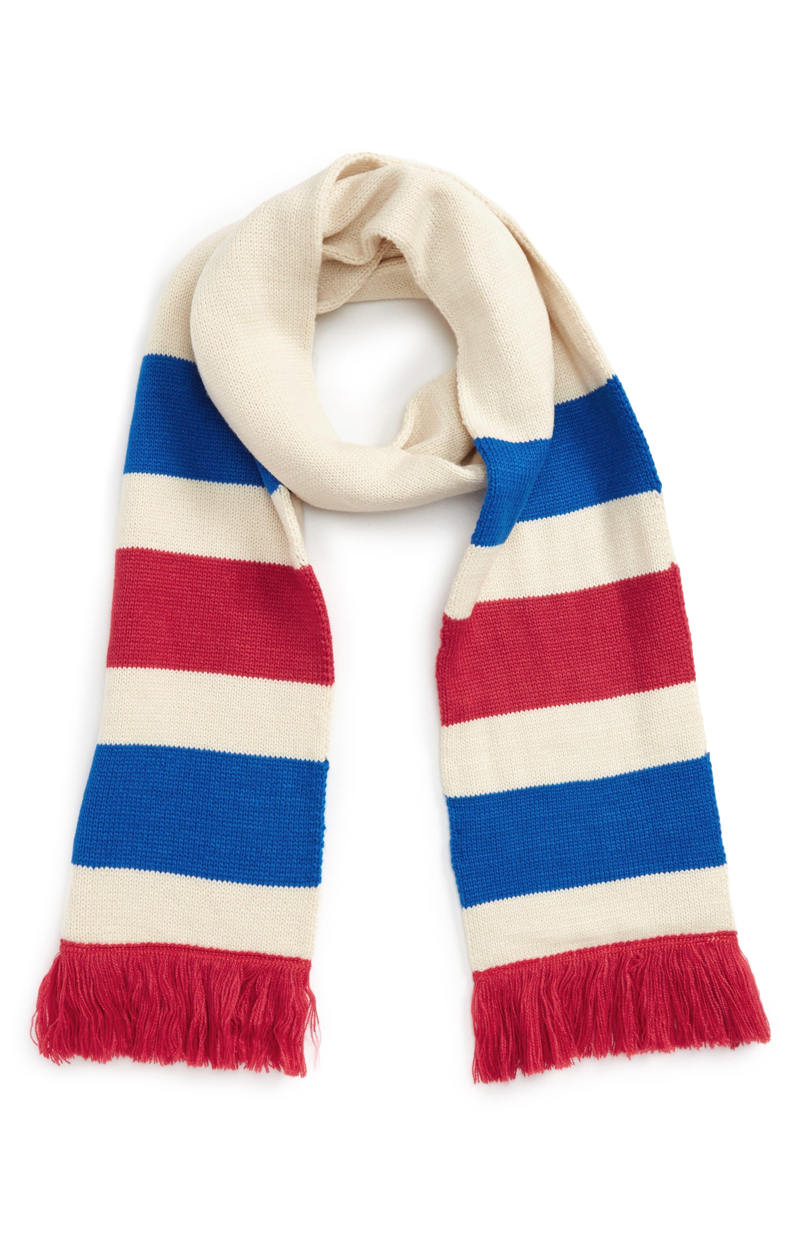 Varsity Stripe Oblong Scarf,                         Main,                         color, Ivory Multi