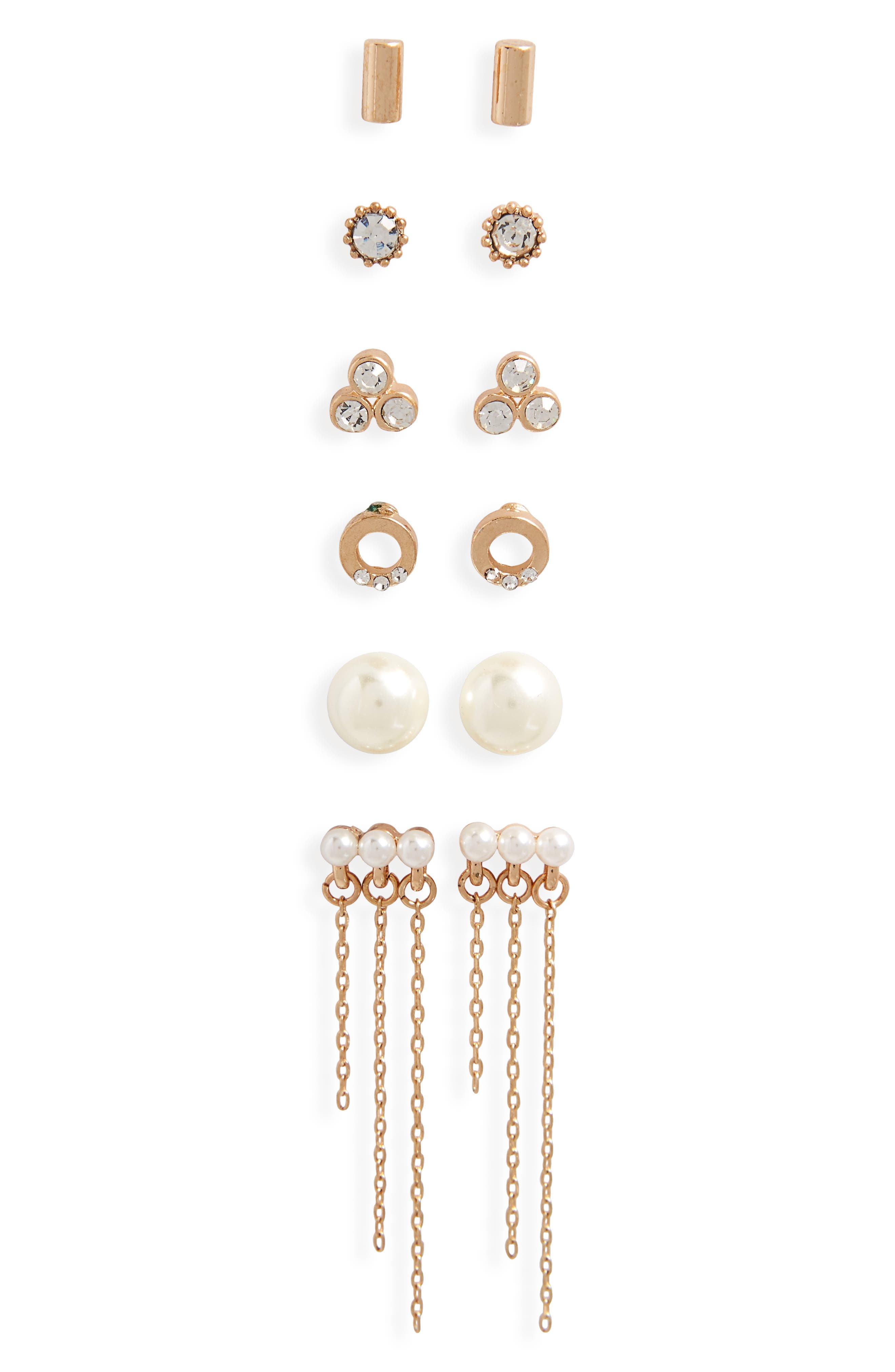 6-Pack Imitation Pearl & Crystal Earrings,                         Main,                         color, Gold