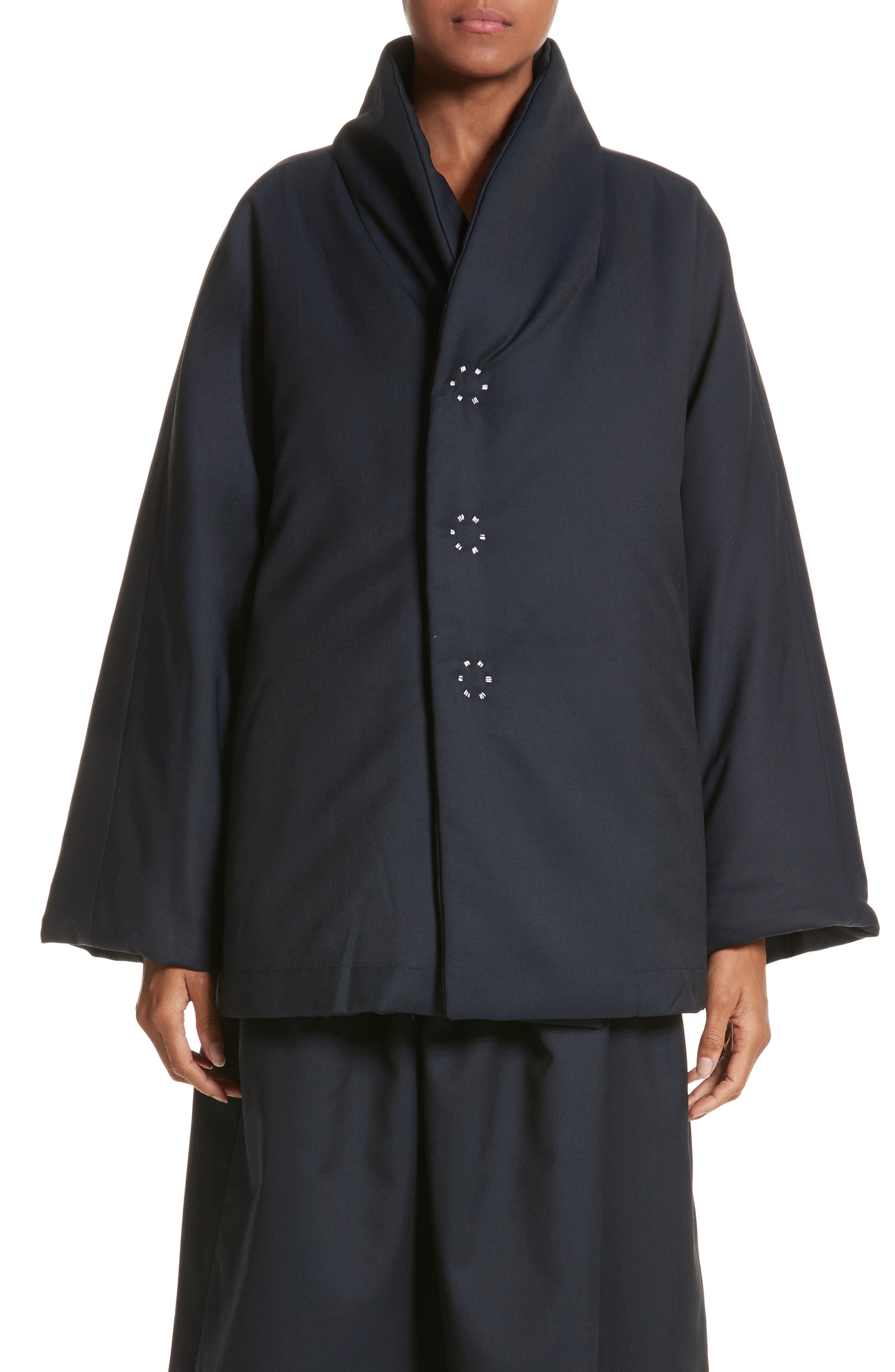 Quilted A-Line Jacket,                             Main thumbnail 1, color,                             Navy