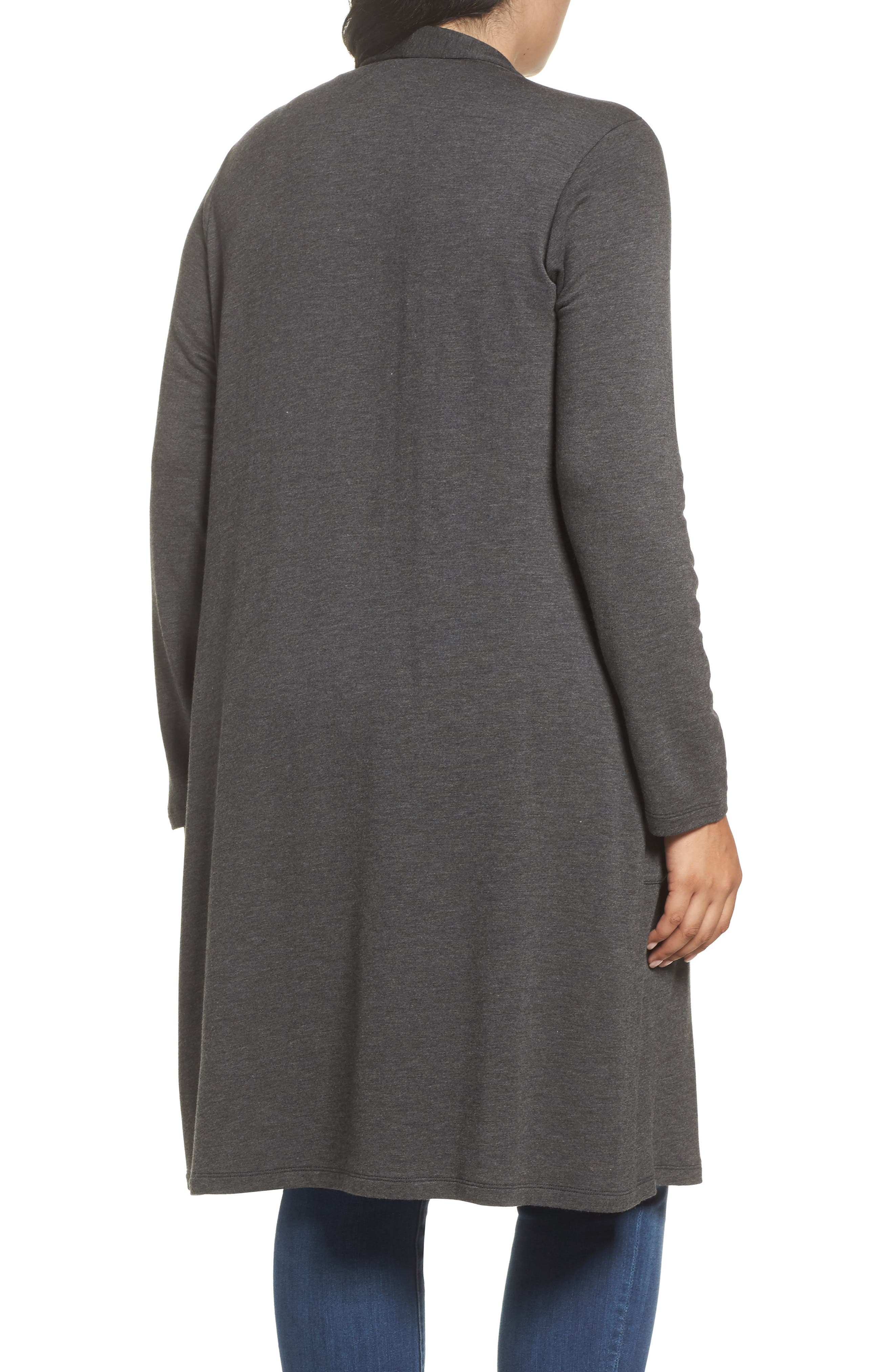 Two-Pocket Stretch Cardigan,                             Alternate thumbnail 2, color,                             Heather Charcoal