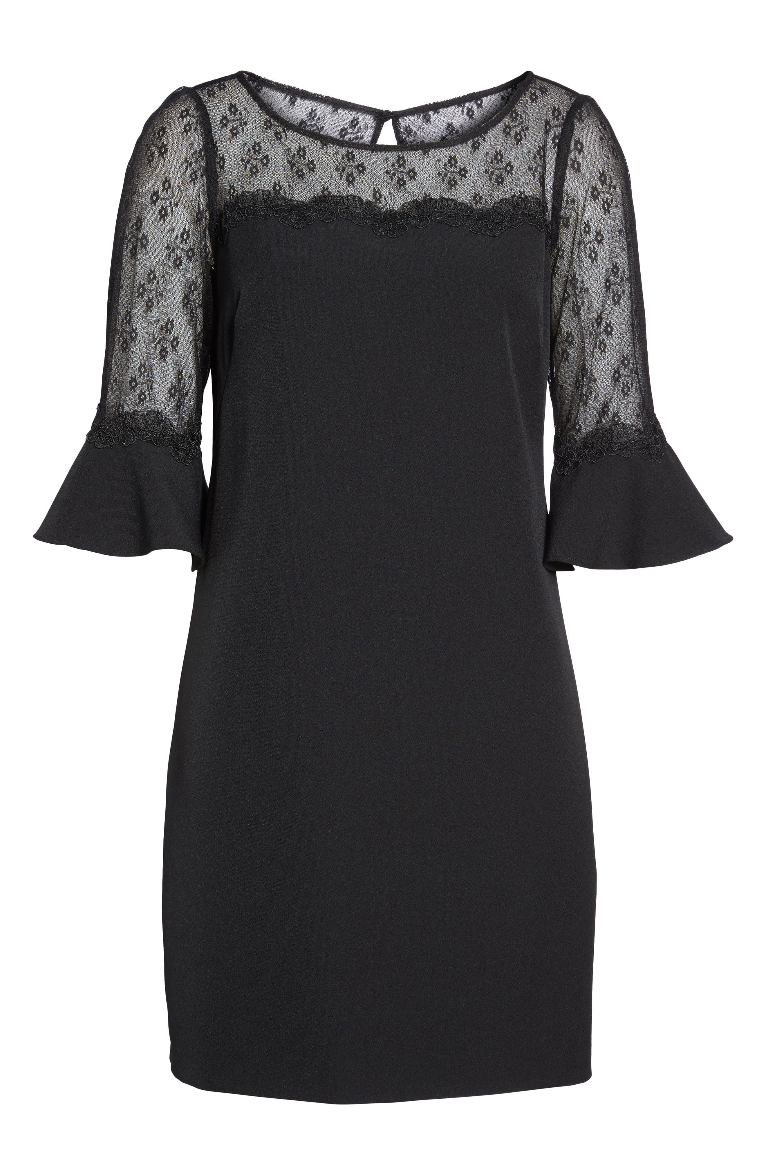 Lace & Crepe Sheath Dress,                             Alternate thumbnail 6, color,                             Black
