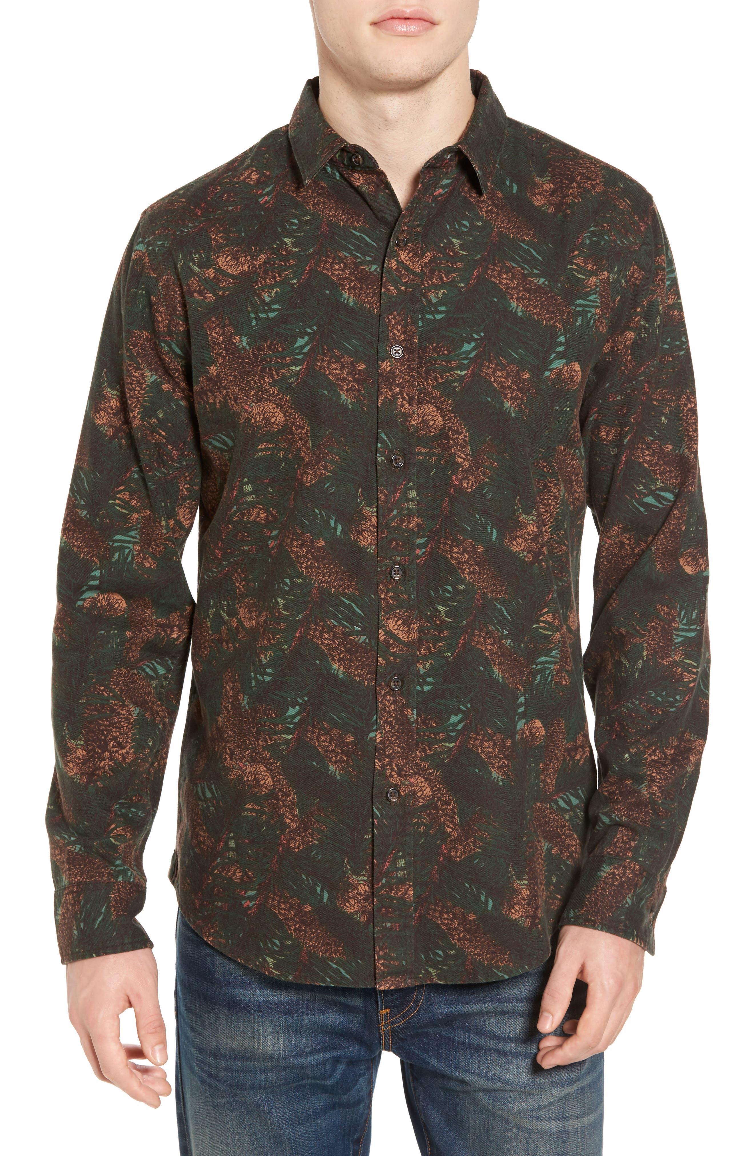 Print Flannel Shirt,                         Main,                         color, Green Pinecone Print