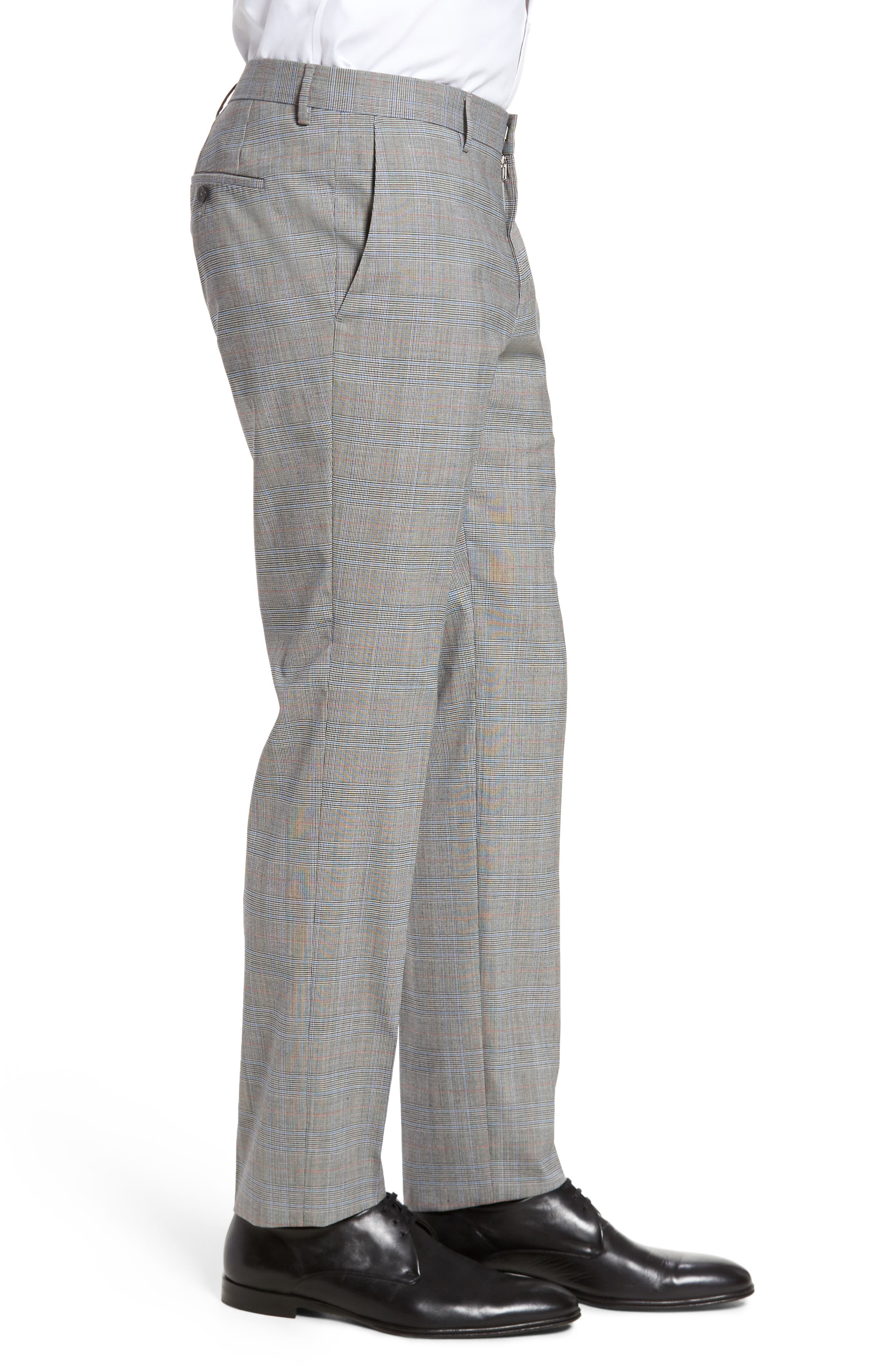 Benso Flat Front Plaid Wool Blend Trousers,                             Alternate thumbnail 3, color,                             Open Grey