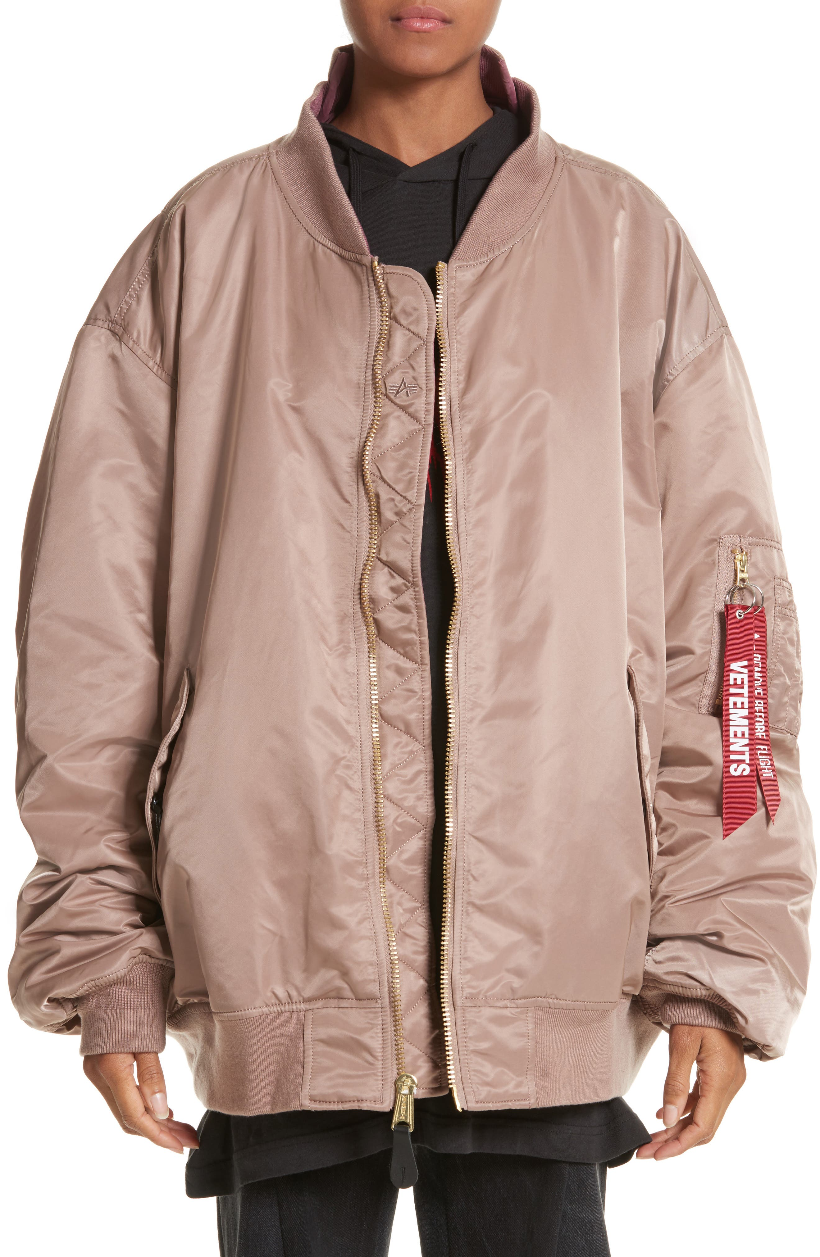 x Alpha Industries Reversible Bomber Jacket,                         Main,                         color, Rose Pink