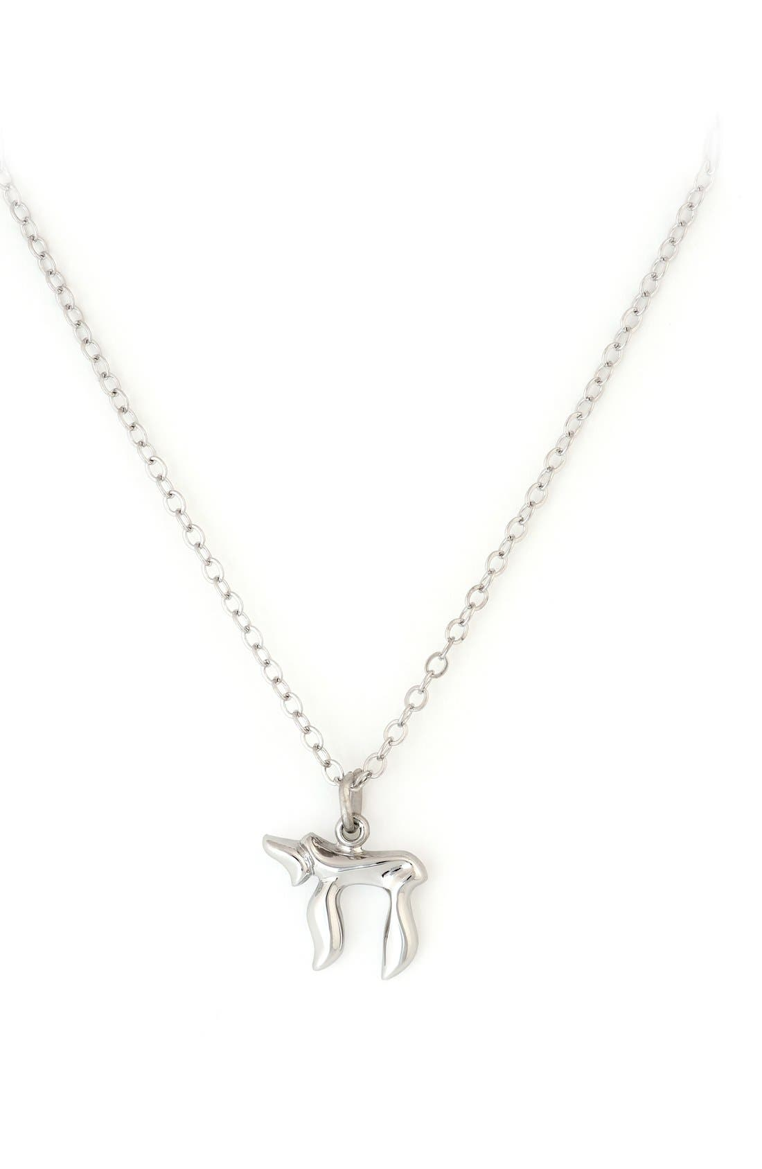 Alternate Image 1 Selected - Speidel Chai Sterling Silver Pendant Necklace (Girls)