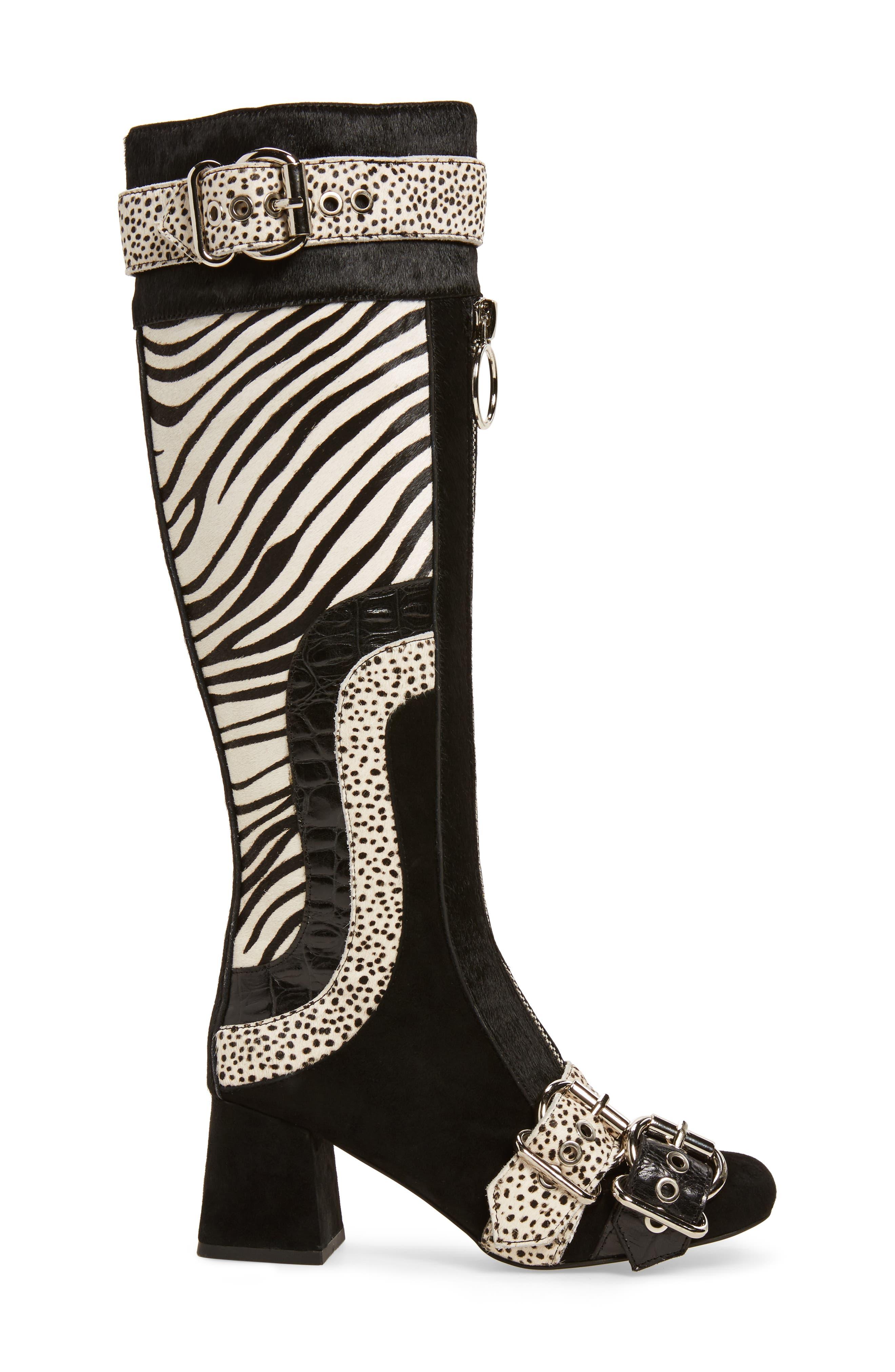Peggy Genuine Calf Hair Boot,                             Alternate thumbnail 3, color,                             Black Suede Animal Multi