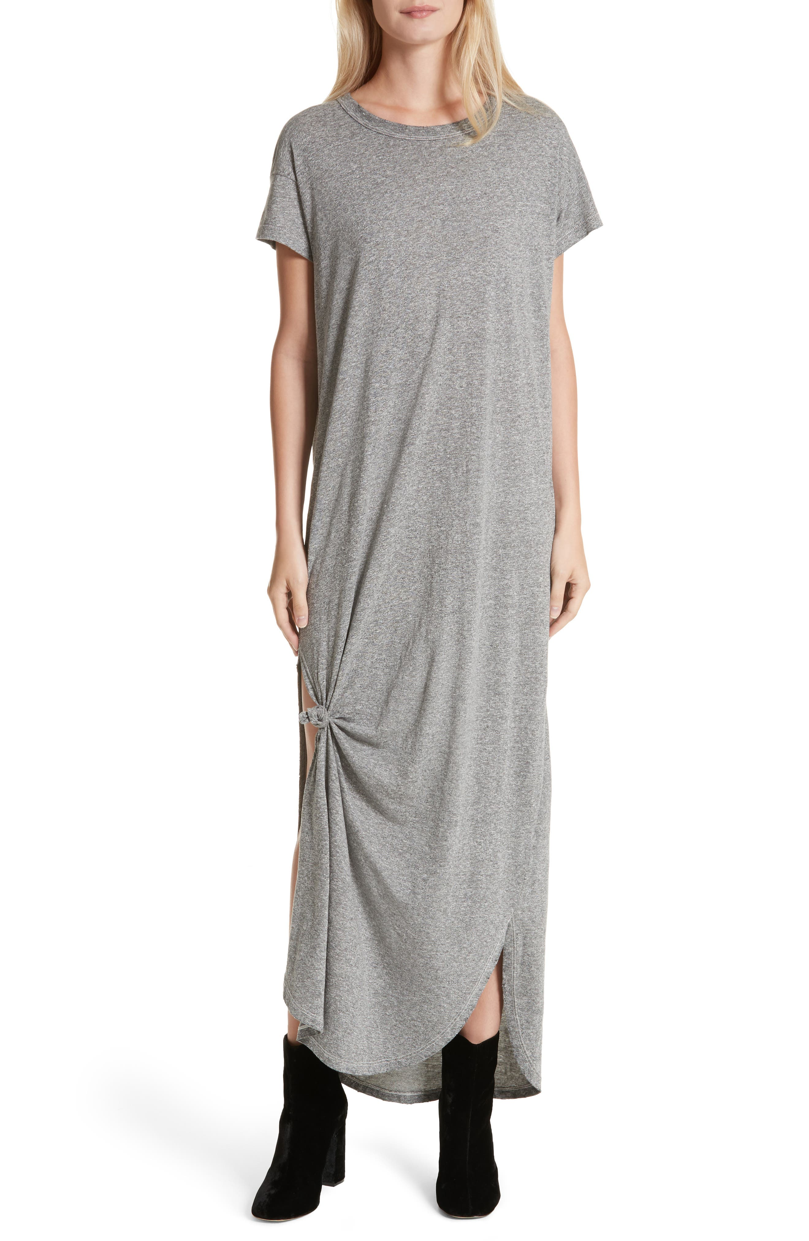 The Knotted Tee Dress,                             Main thumbnail 1, color,                             Heather Grey