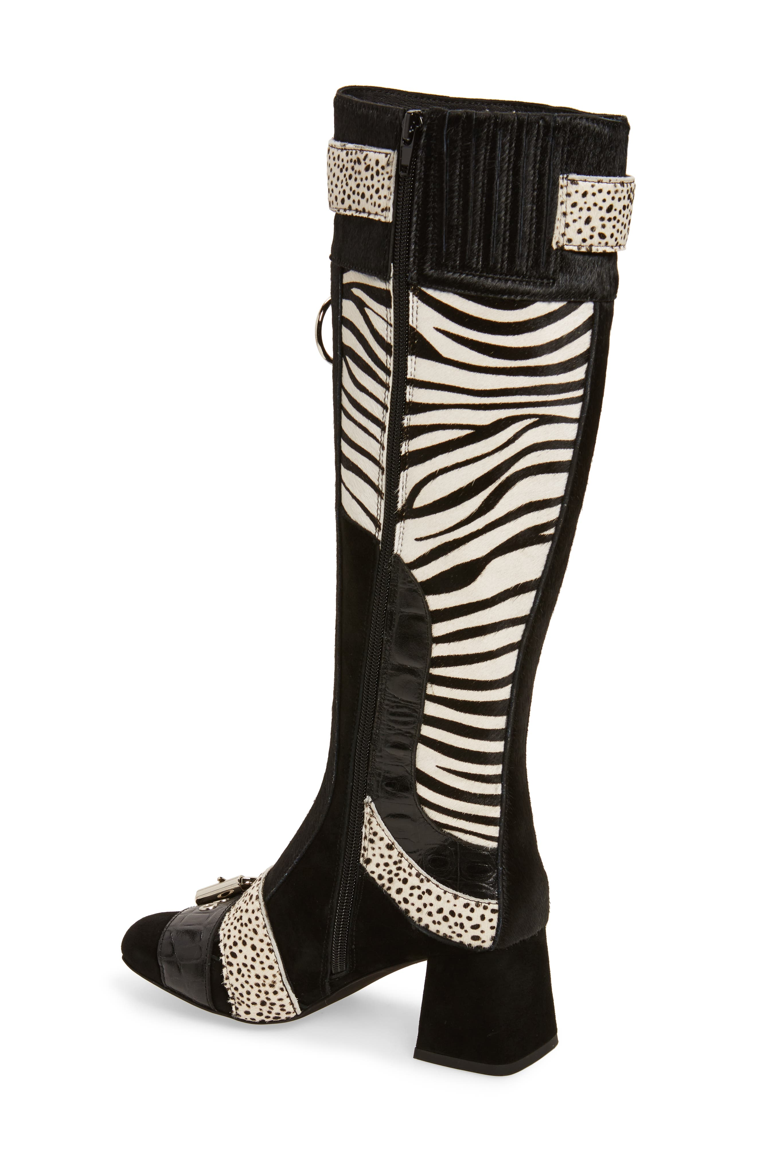 Peggy Genuine Calf Hair Boot,                             Alternate thumbnail 2, color,                             Black Suede Animal Multi