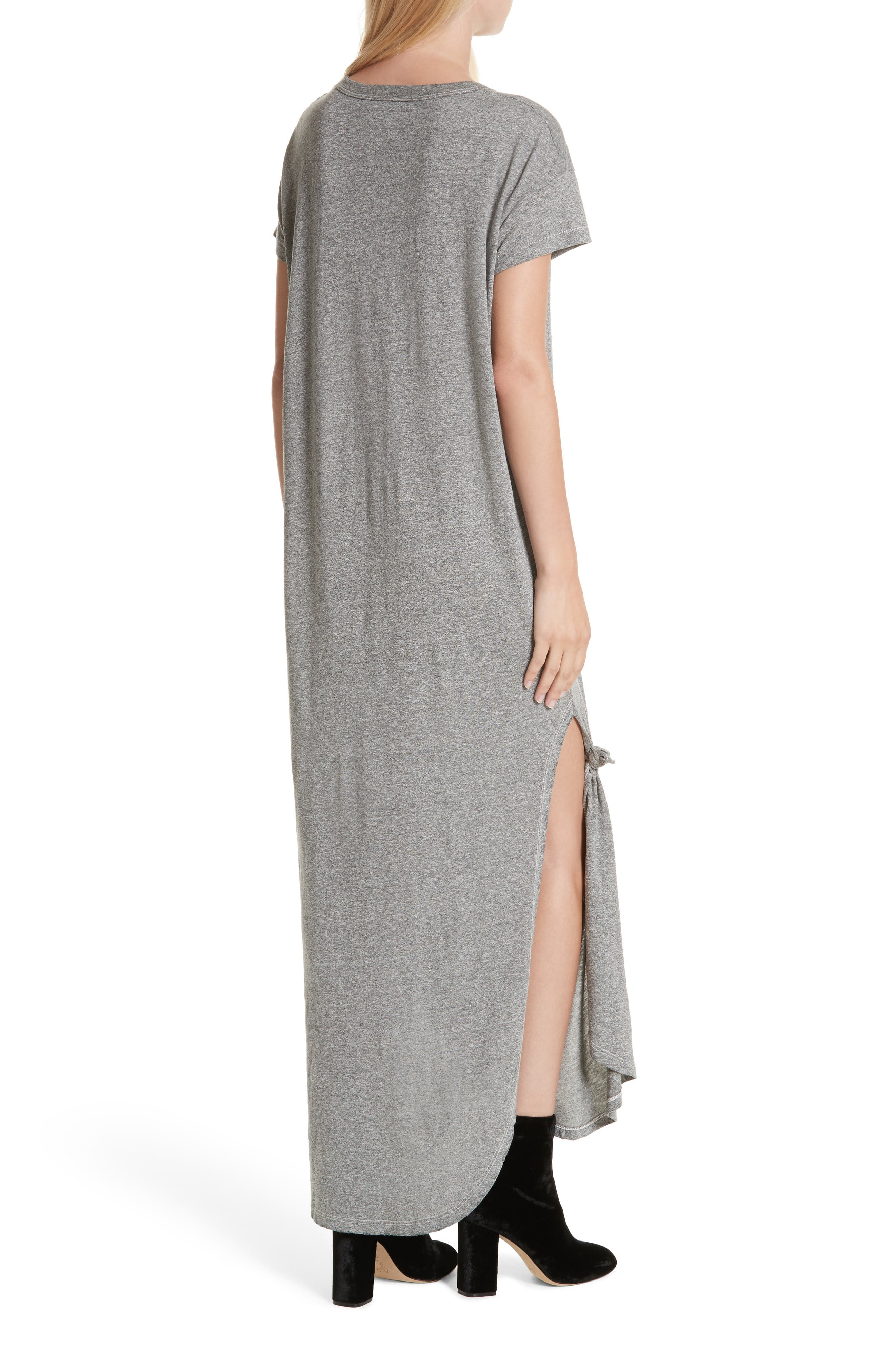 The Knotted Tee Dress,                             Alternate thumbnail 3, color,                             Heather Grey