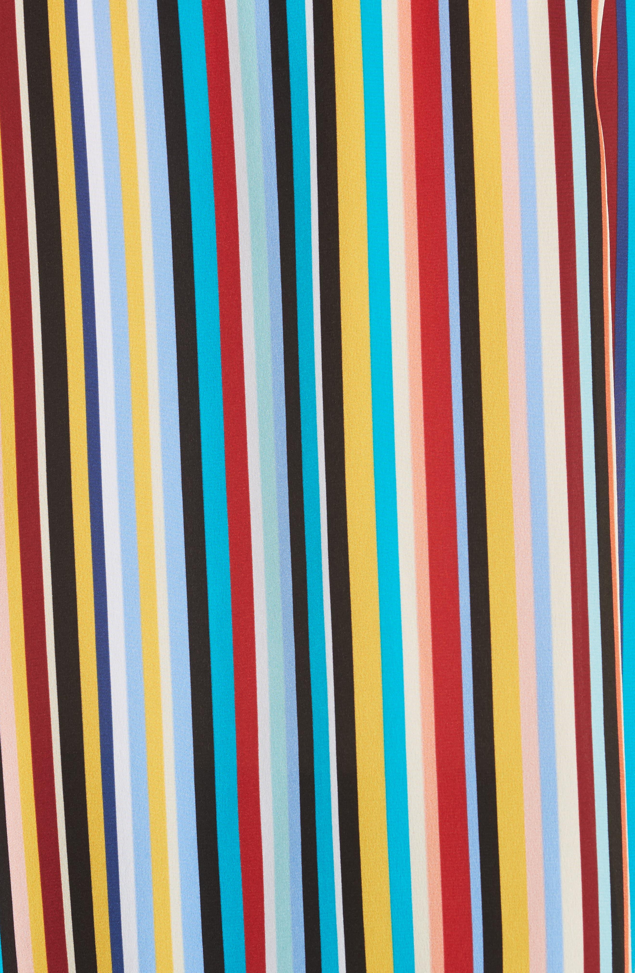 Stripe Silk Top,                             Alternate thumbnail 5, color,                             Skinny Stripes