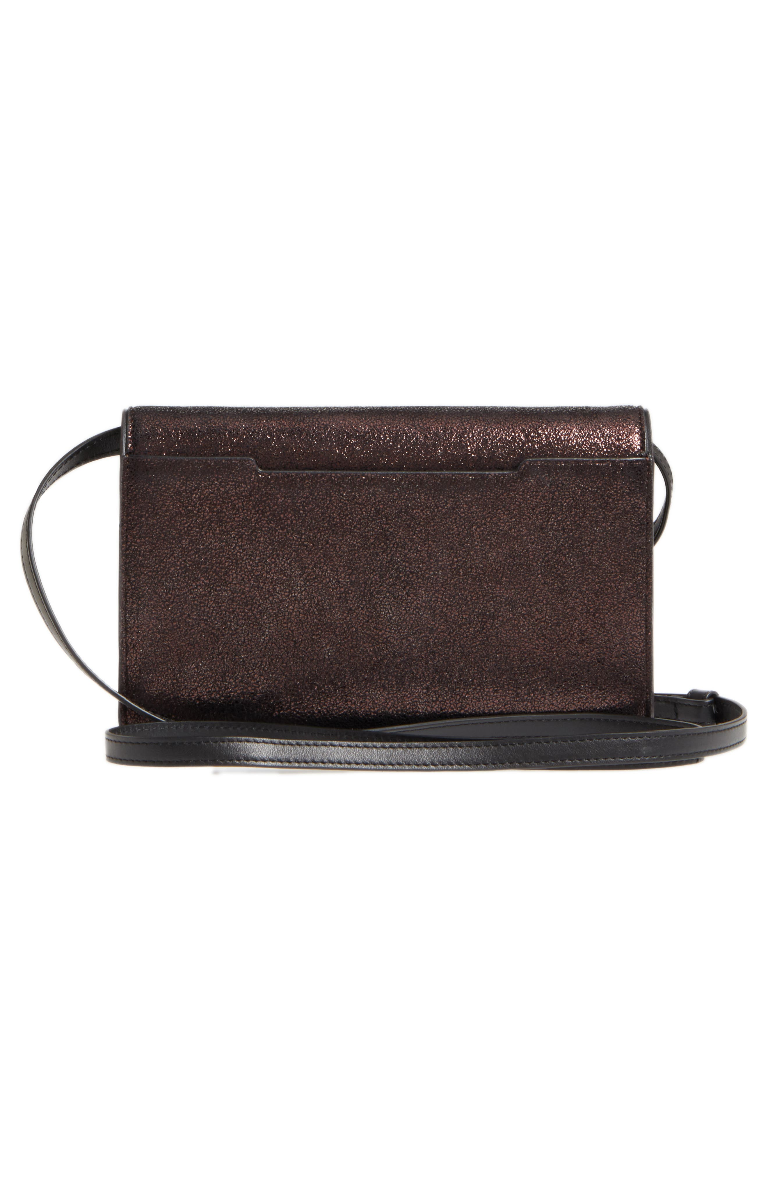 Metallic Leather Crossbody Wallet,                             Alternate thumbnail 3, color,                             Copper