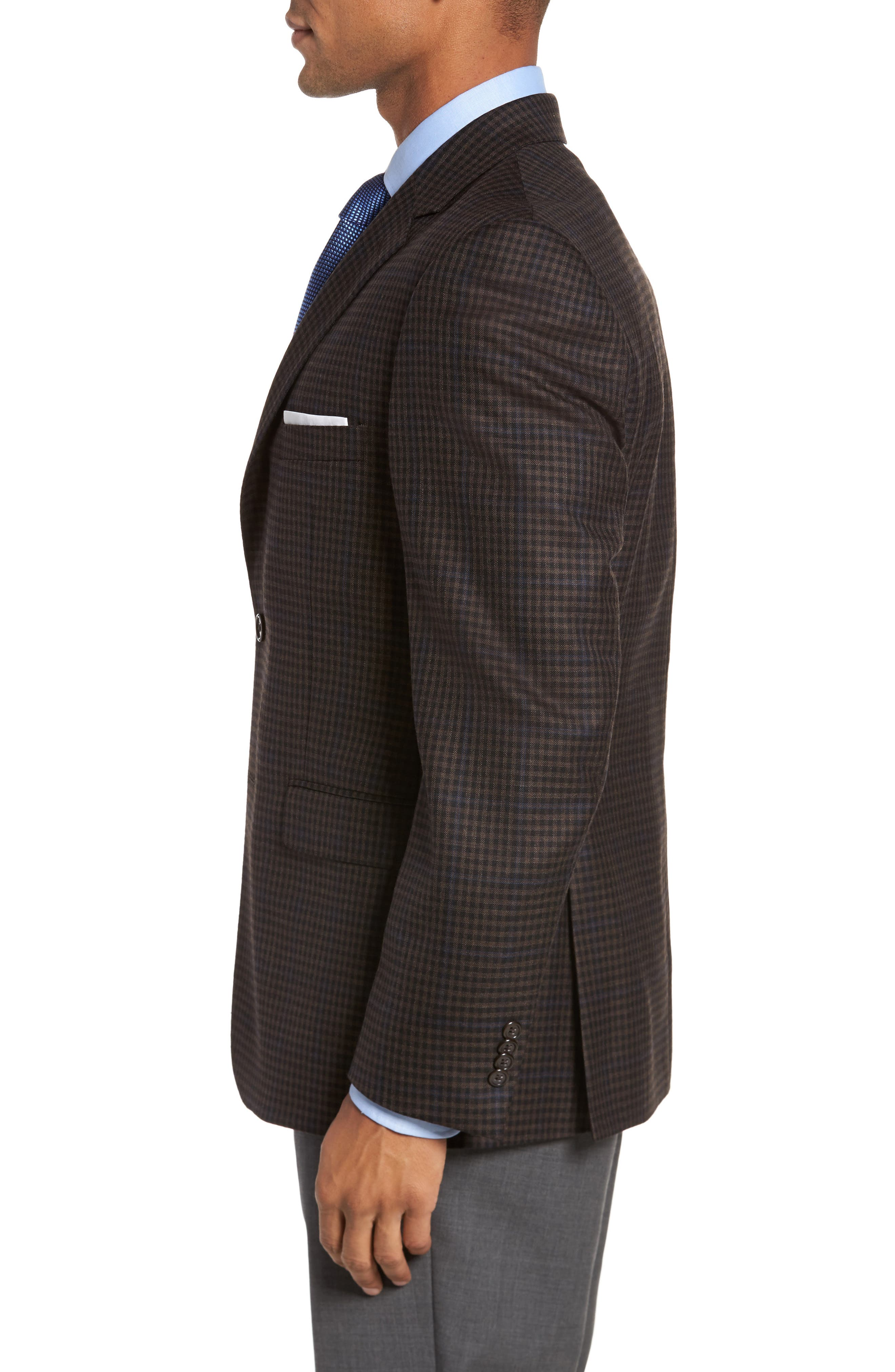Classic Fit Plaid Wool Sport Coat,                             Alternate thumbnail 3, color,                             Brown