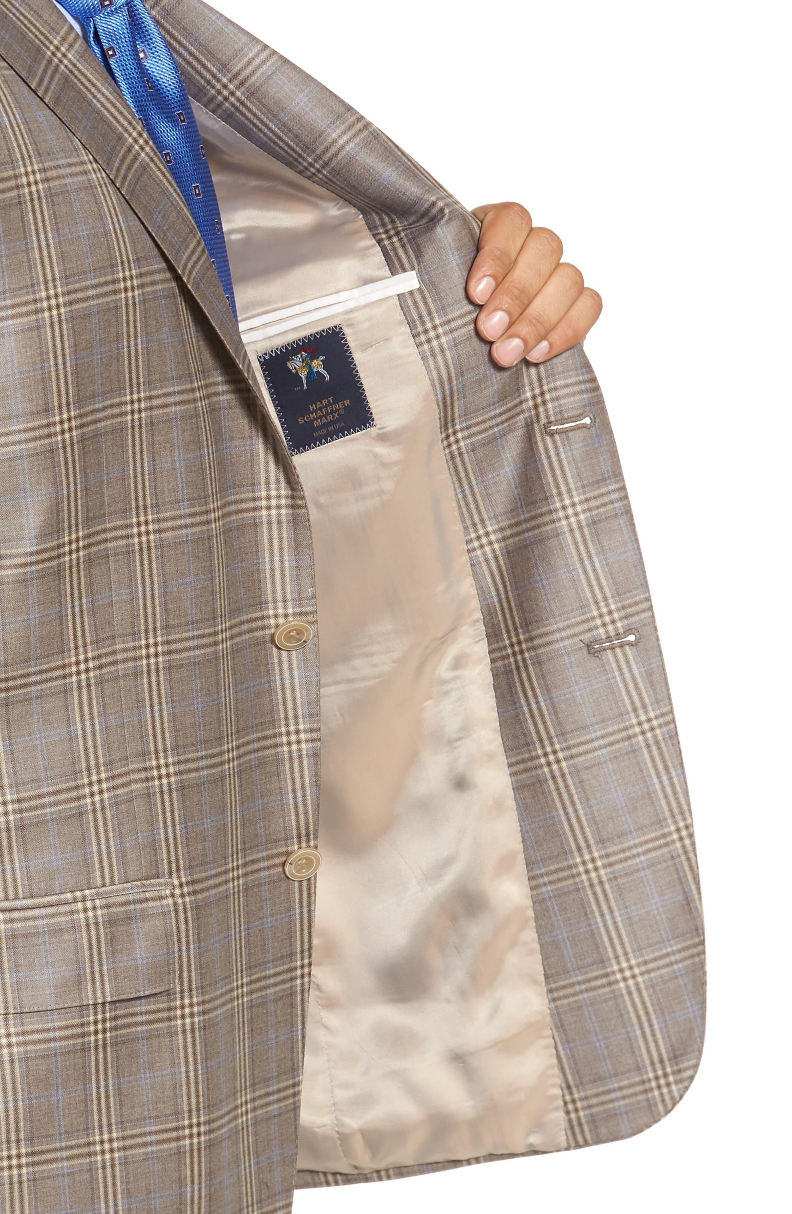 Classic Fit Plaid Wool Sport Coat,                             Alternate thumbnail 4, color,                             Light Brown