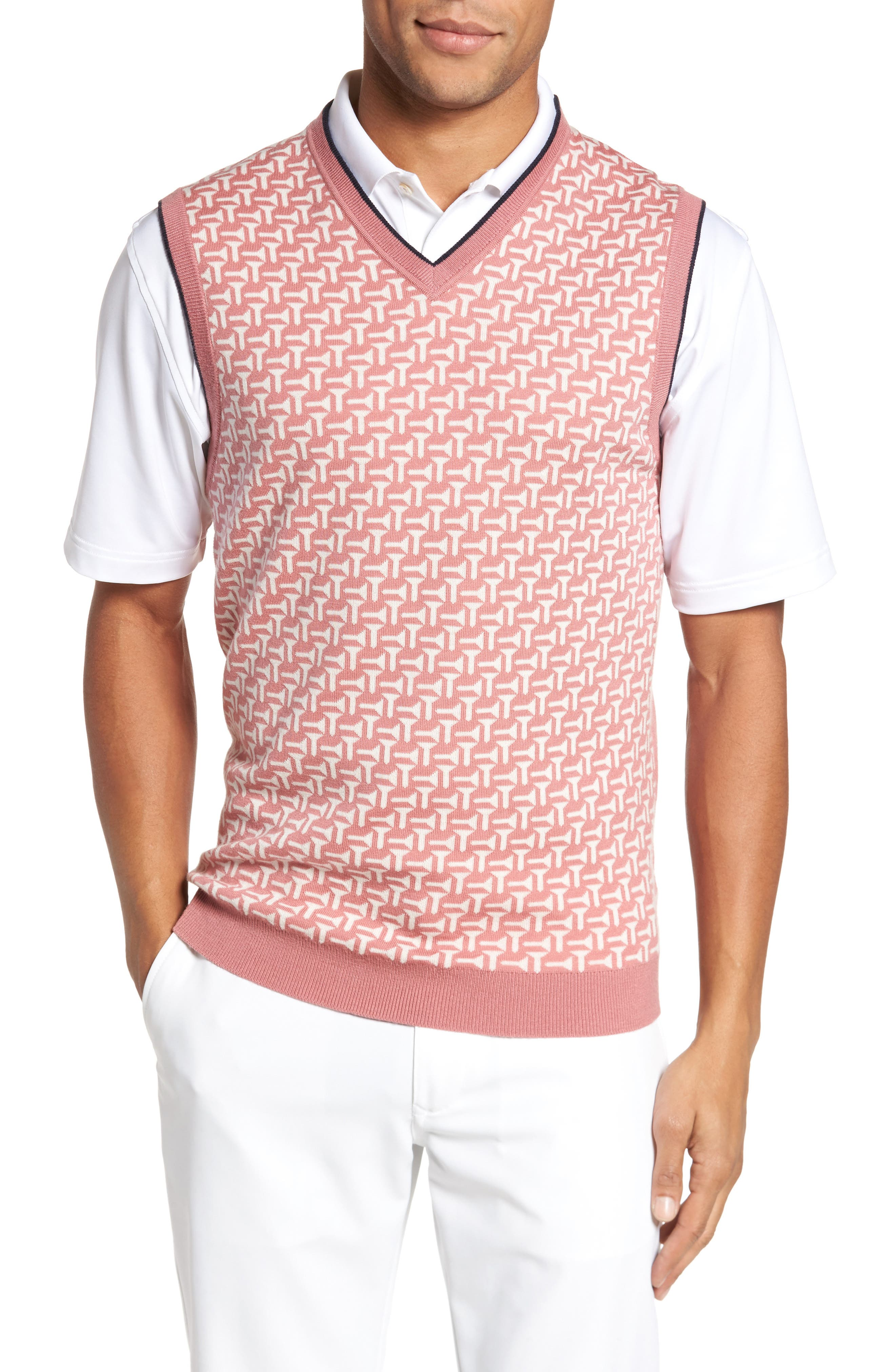 Tommas Golf Merino Sweater Vest,                         Main,                         color, Mid Pink