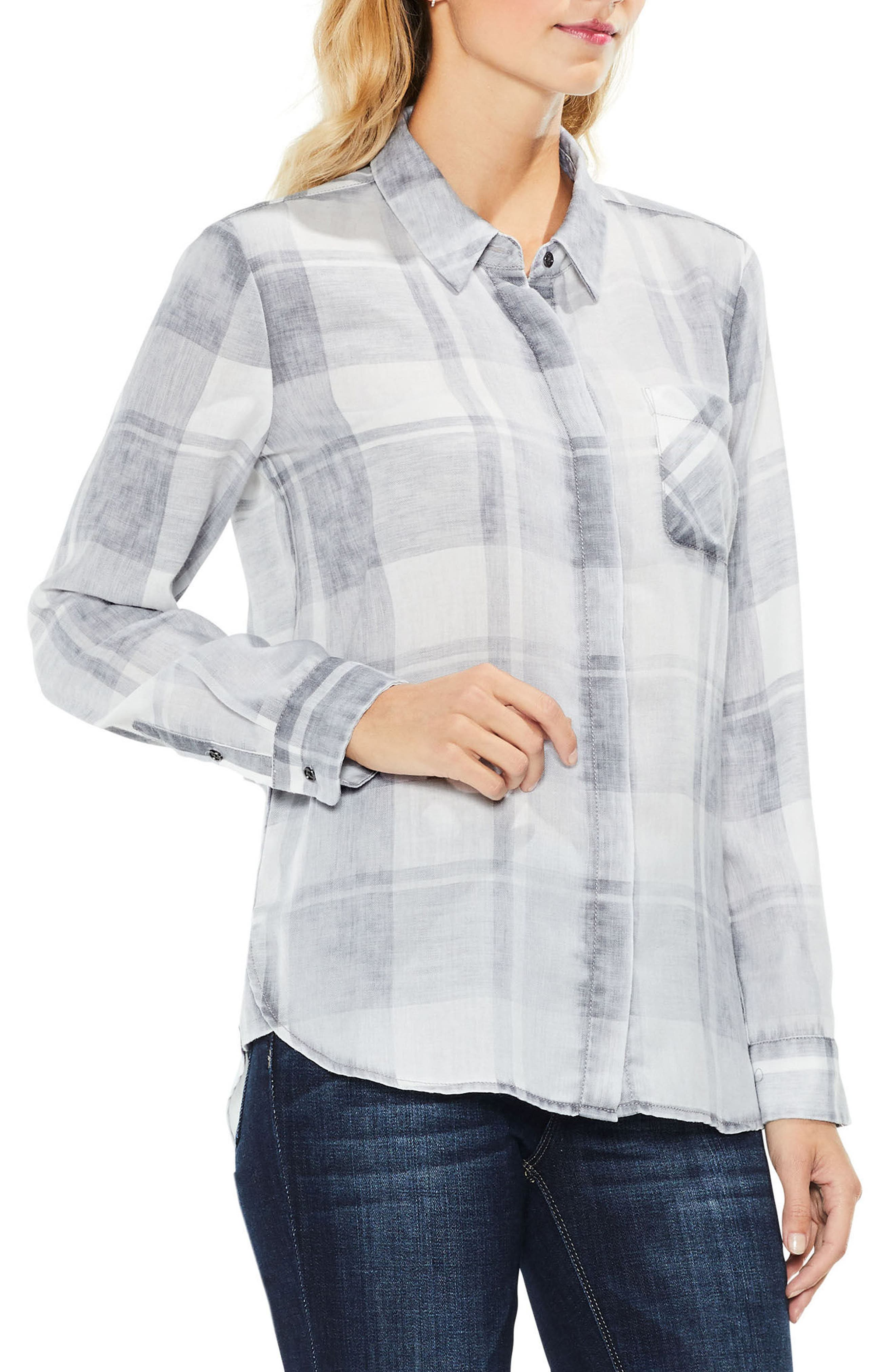 Quaint Plaid Button Down Shirt,                             Main thumbnail 1, color,                             Grey Heather