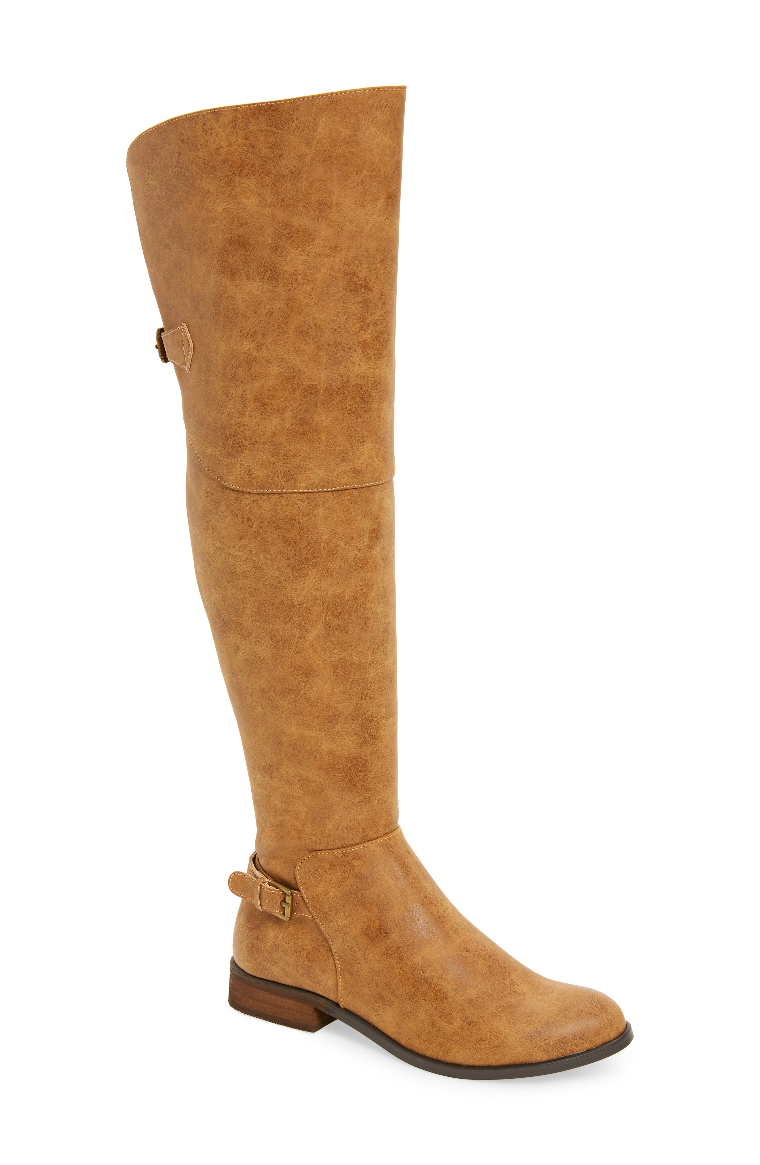 Otto Over the Knee Boot,                             Main thumbnail 1, color,                             Tan Faux Leather