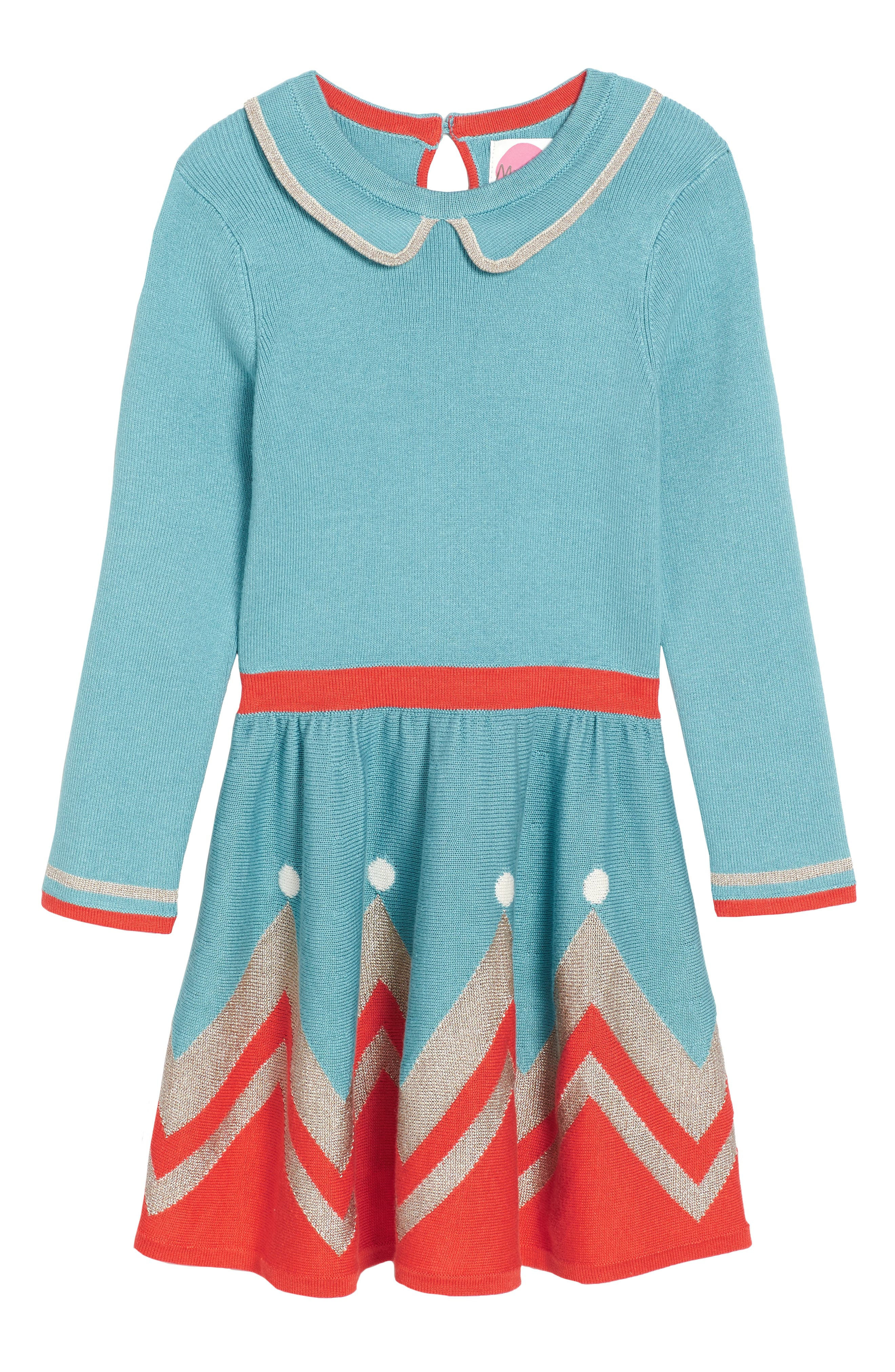 Main Image - Mini Boden Sparkly Intarsia Knit Dress (Toddler Girls, Little Girls & Big Girls)