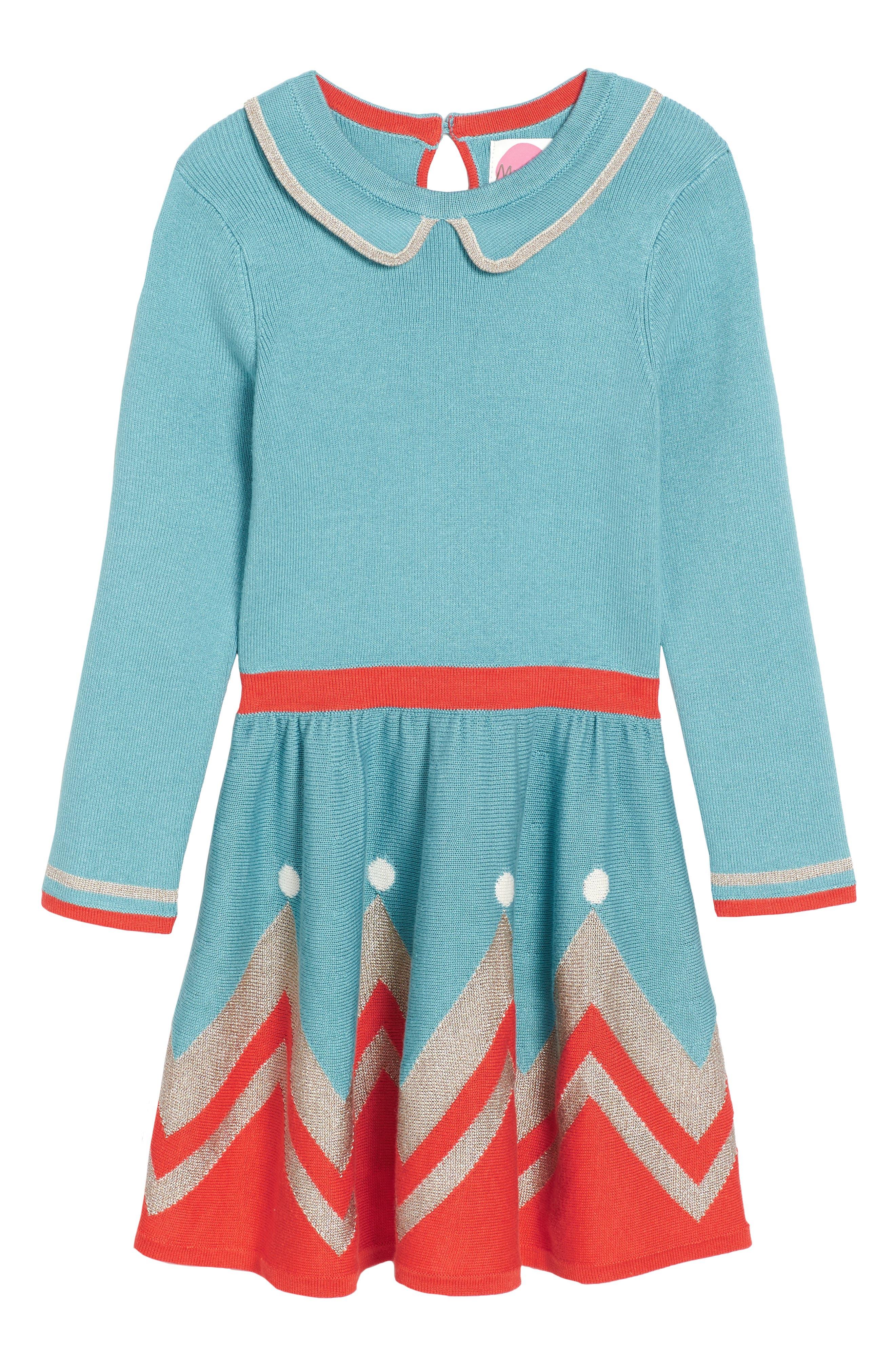Mini Boden Sparkly Intarsia Knit Dress (Toddler Girls, Little Girls & Big Girls)