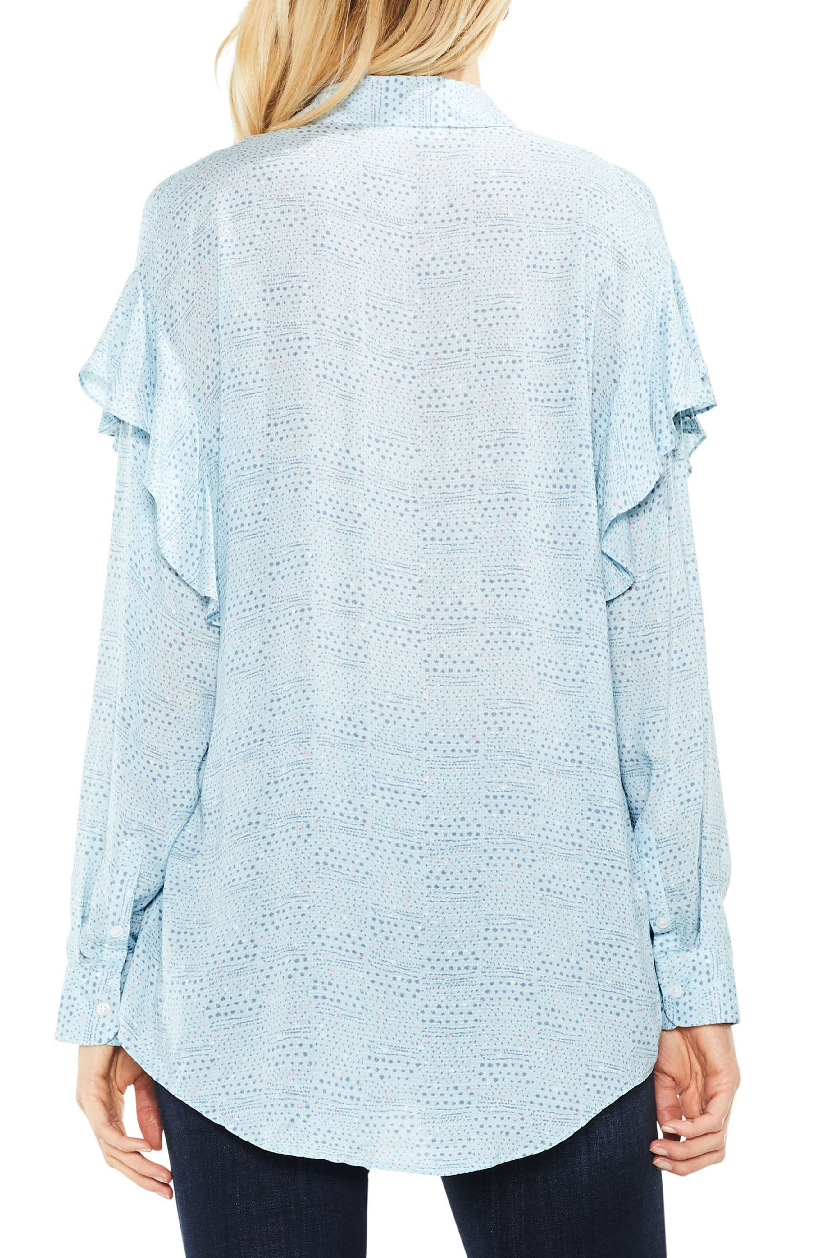 Two by Vince Camuto Ruffle Shoulder Top,                             Alternate thumbnail 2, color,                             Soft Skies