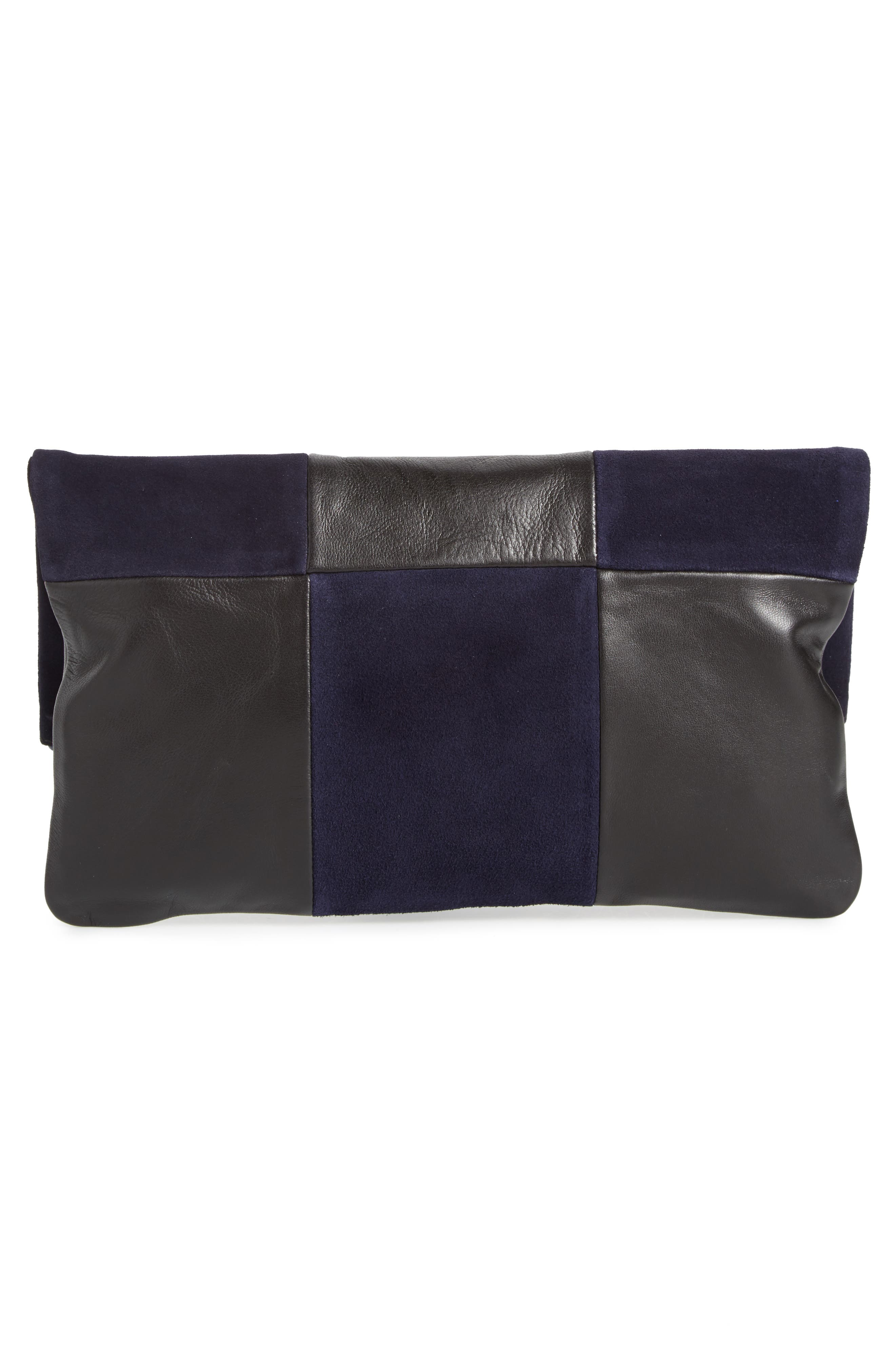 Leather & Suede Foldover Clutch,                             Alternate thumbnail 3, color,                             Black Nappa/ Navy Suede