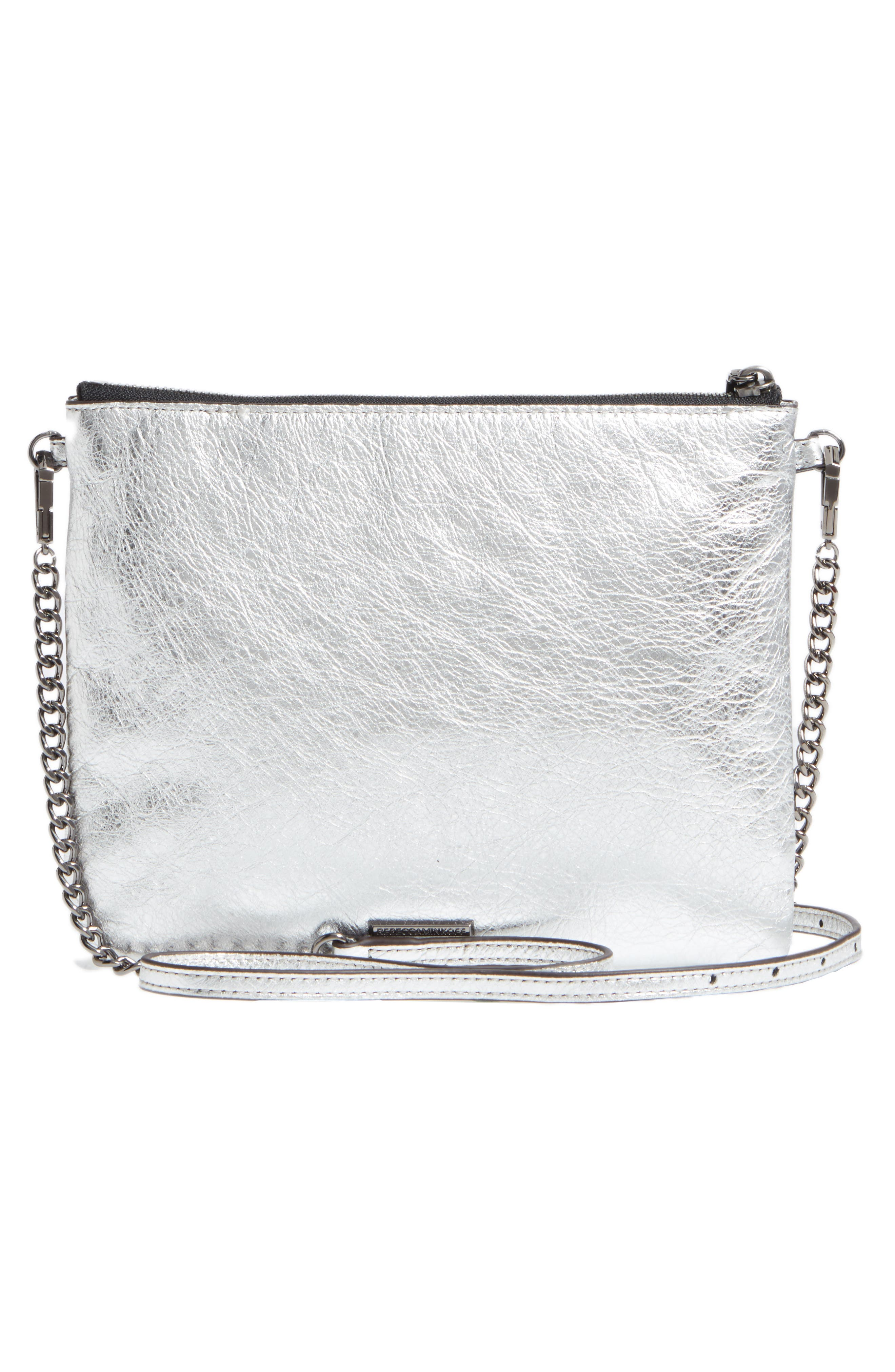 Jon Leather Crossbody Bag,                             Alternate thumbnail 3, color,                             Silver