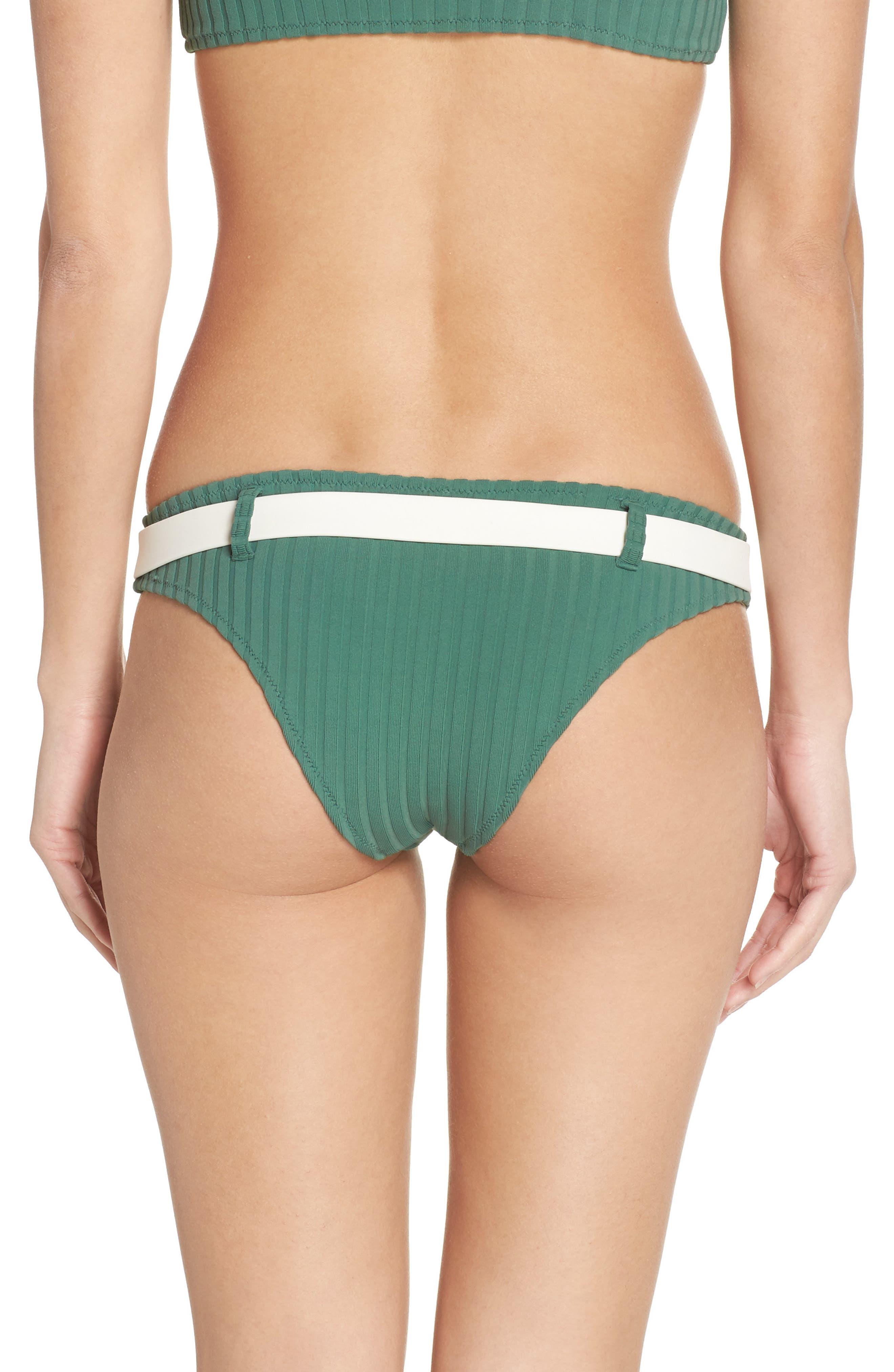 The Rachel Bikini Bottoms,                             Alternate thumbnail 2, color,                             Emerald Rib