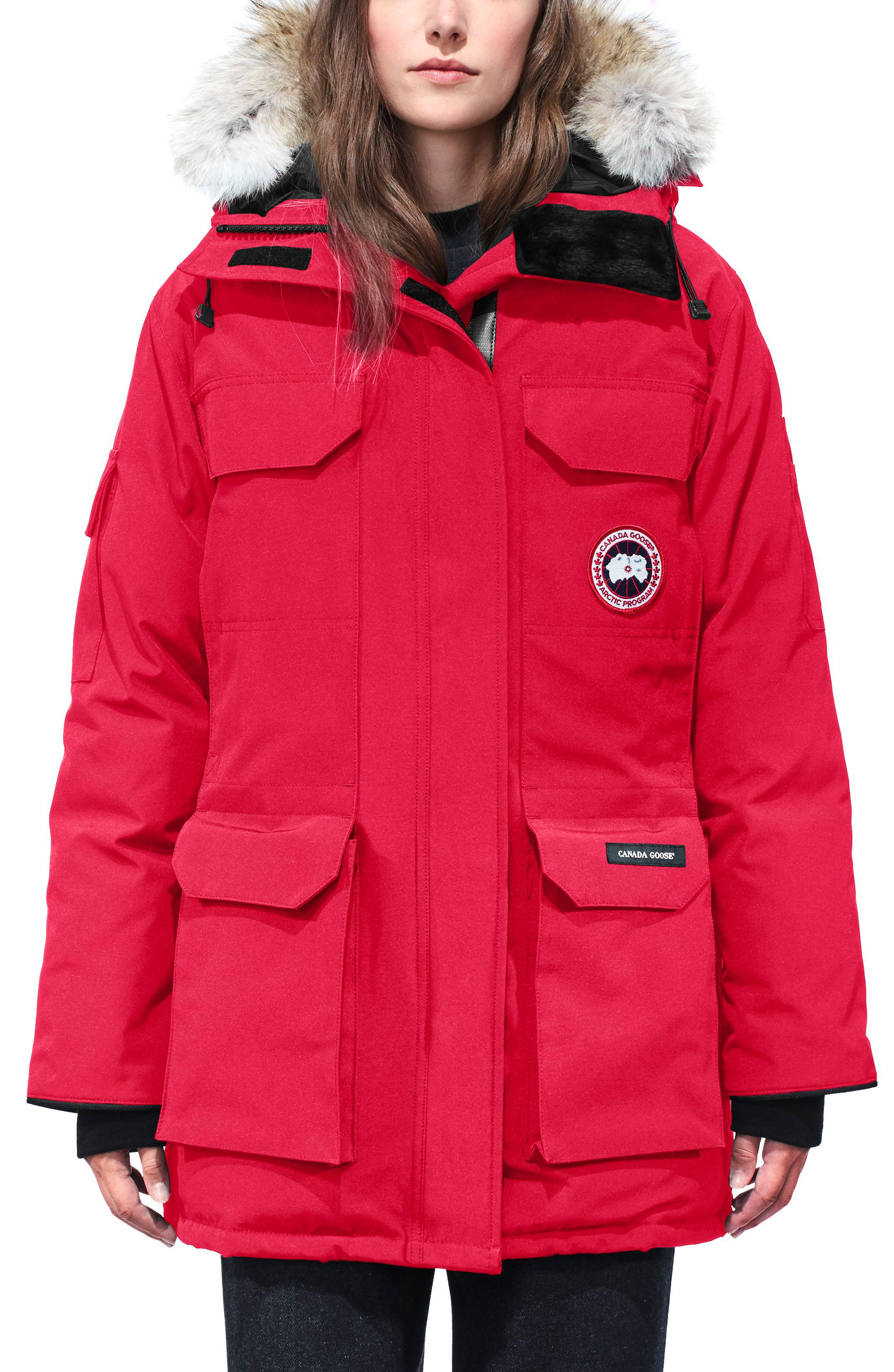 'Expedition' Relaxed Fit Down Parka with Genuine Coyote Fur,                             Main thumbnail 1, color,                             Red