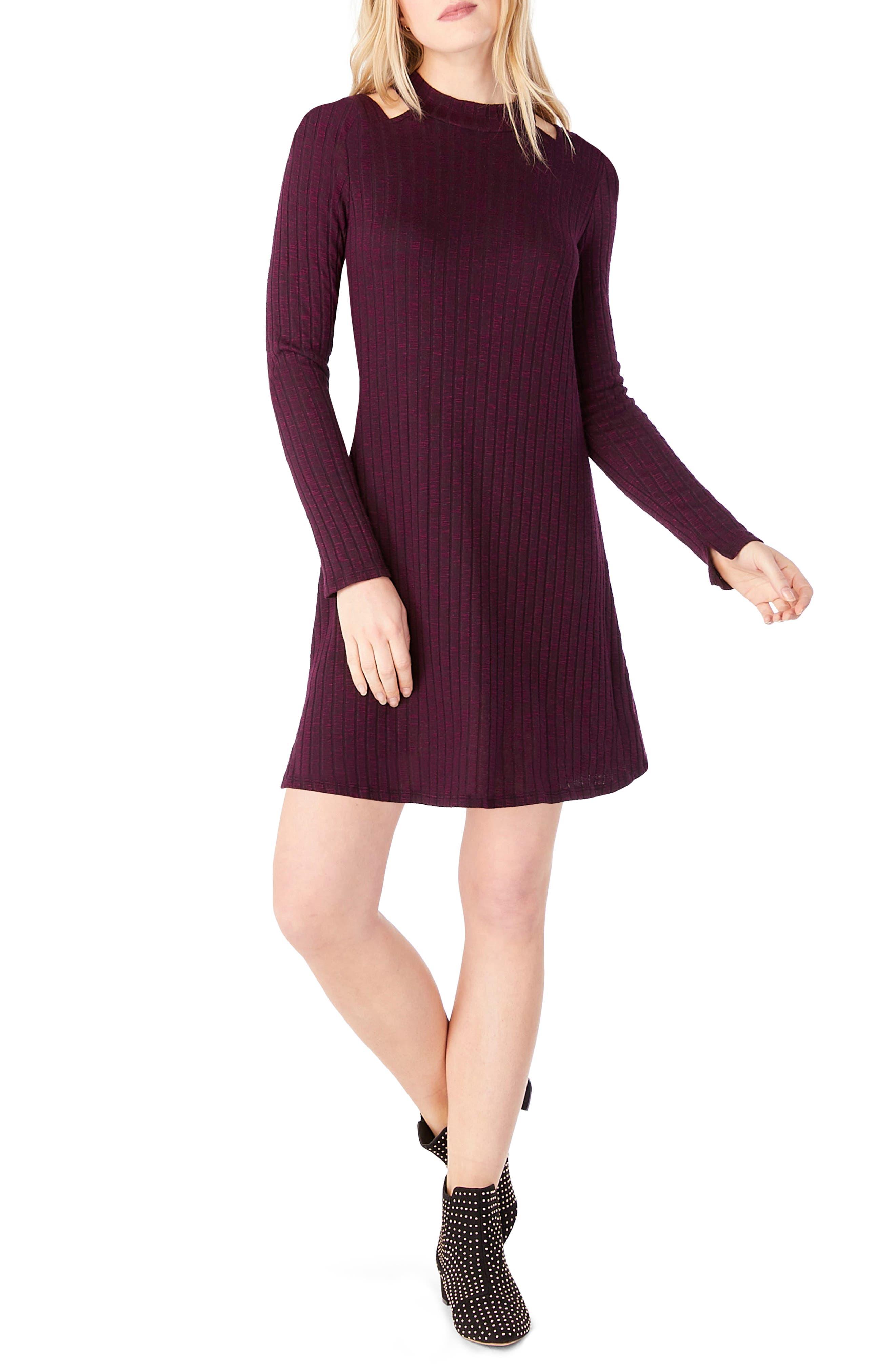 Cold Shoulder Mock Neck Shift Dress,                         Main,                         color, Rumba