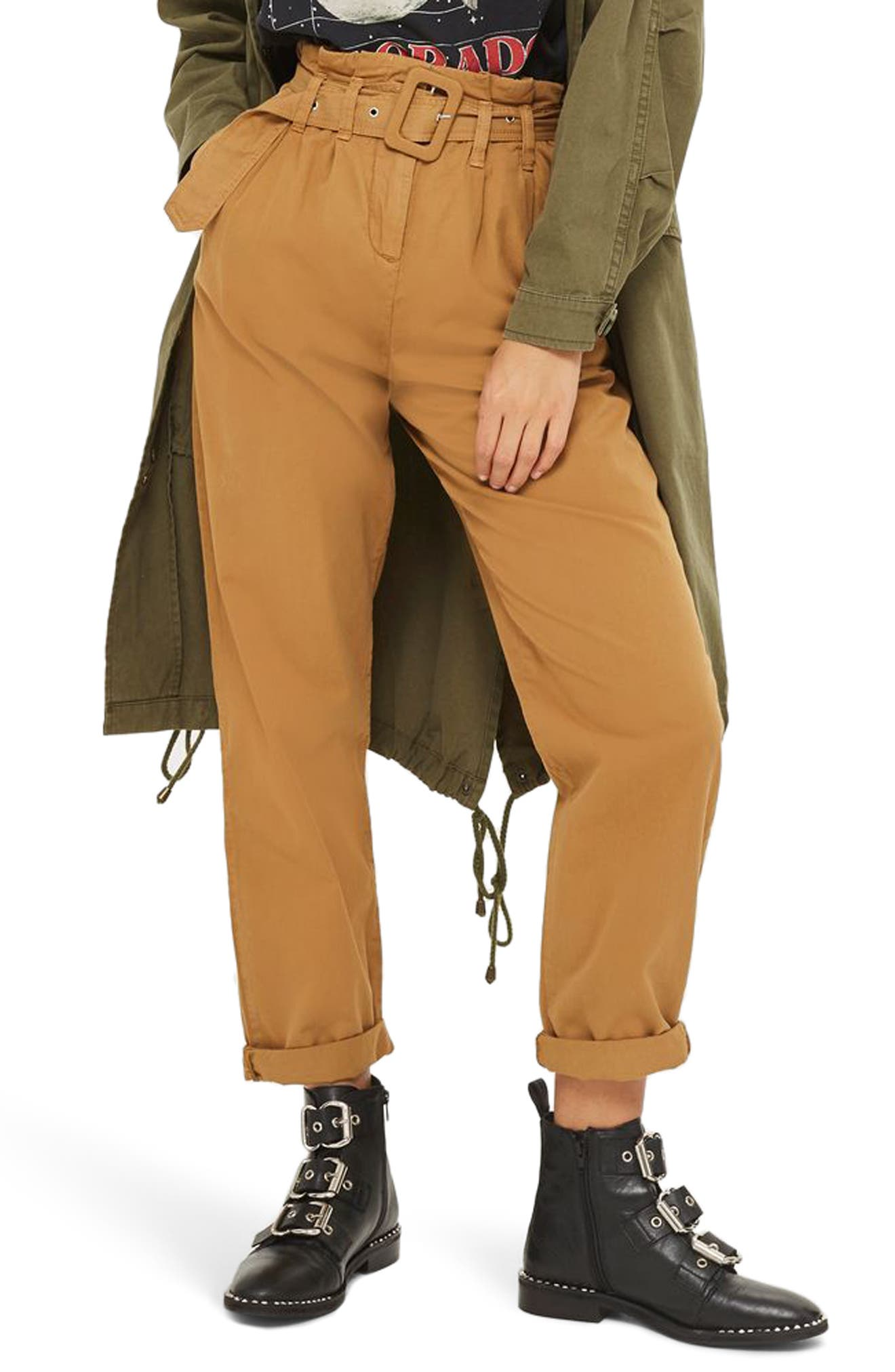 Alternate Image 1 Selected - Topshop Belted Chino Pants
